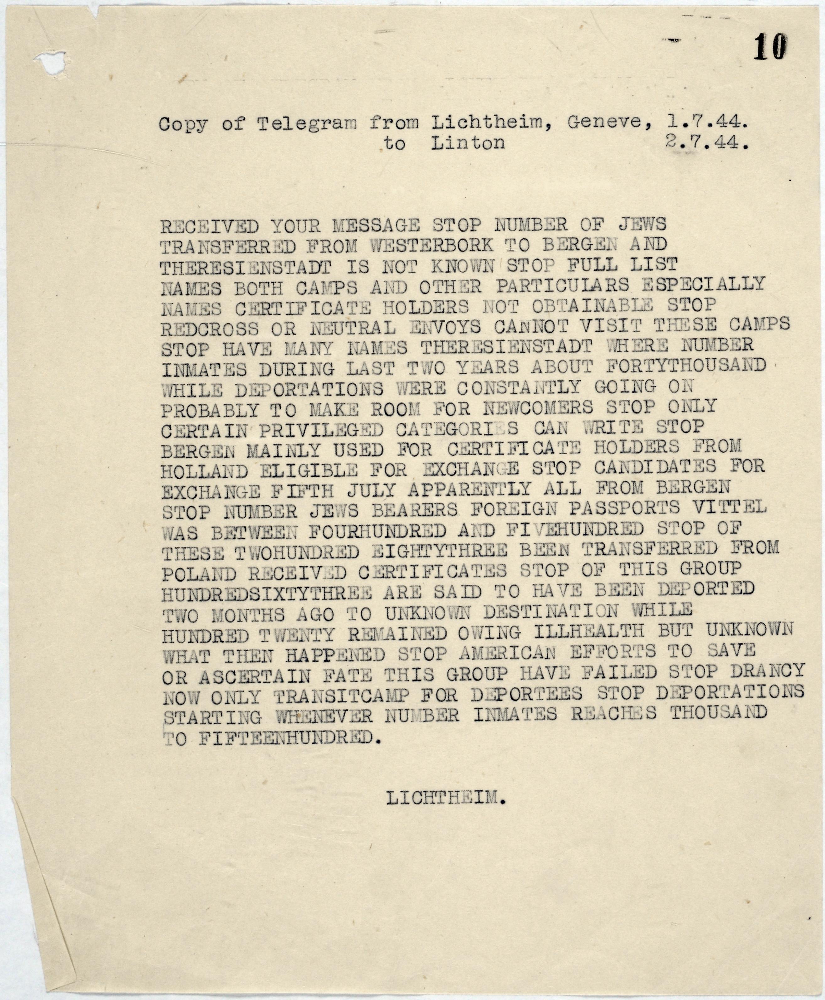 The Lichteim telegram