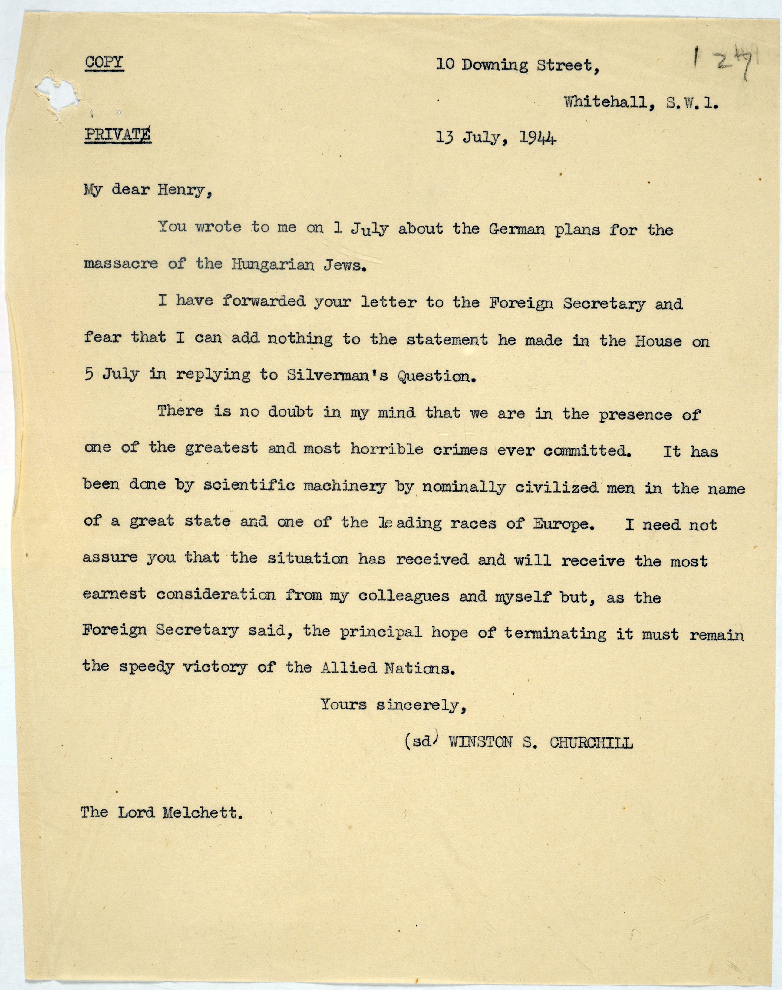 Churchill on massacre of Hungarian Jews