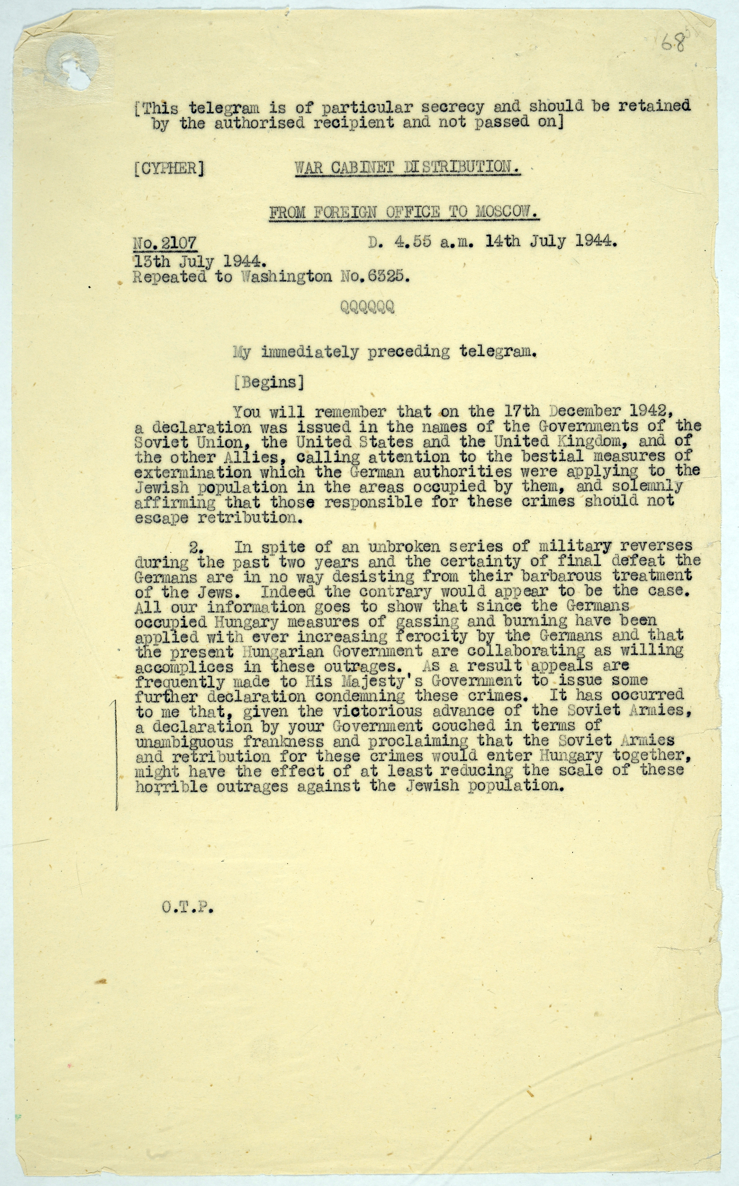 Telegram to Moscow from the British Foreign Office