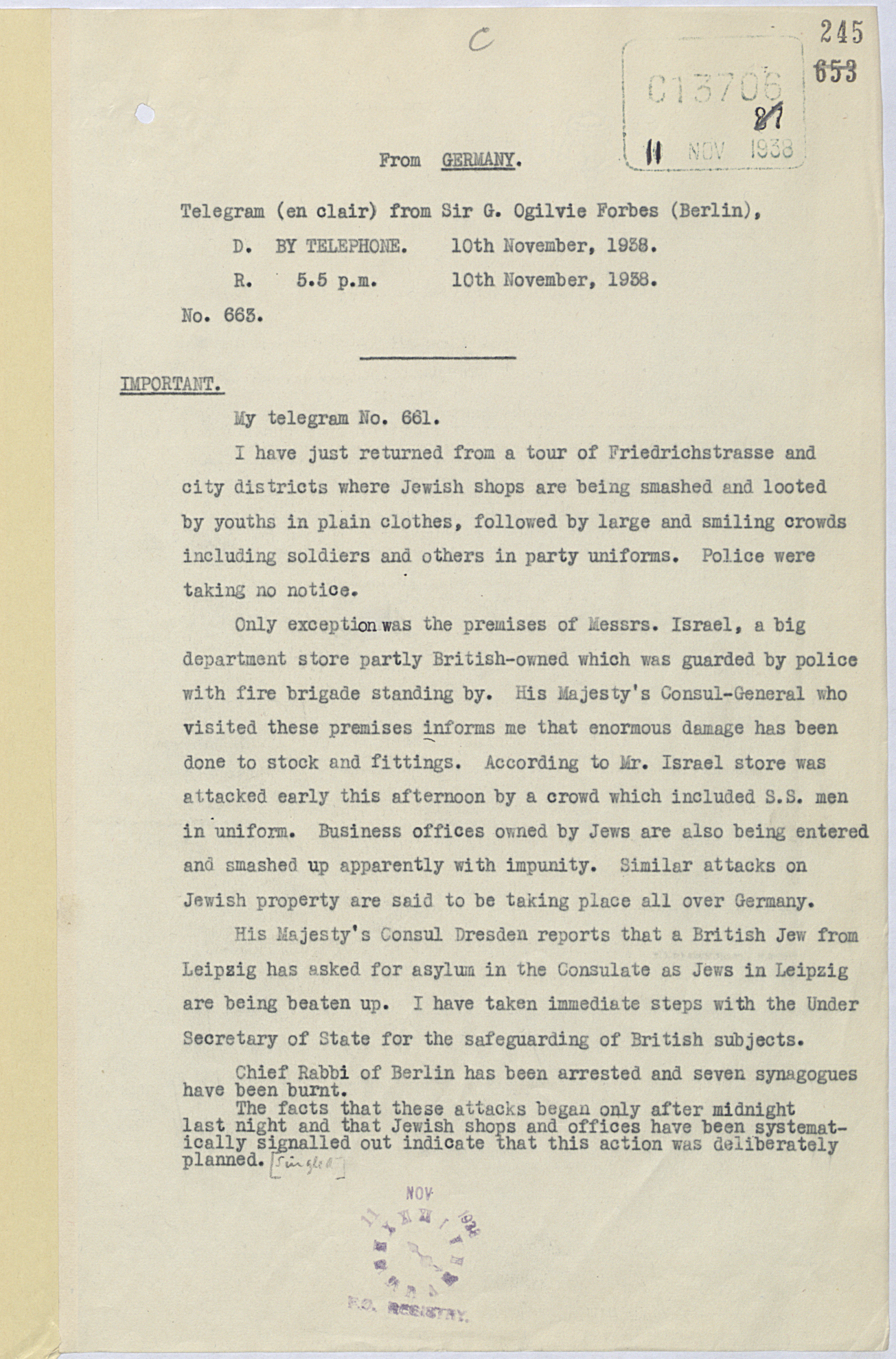 Telegram regarding Kristallnacht 10 November 1938