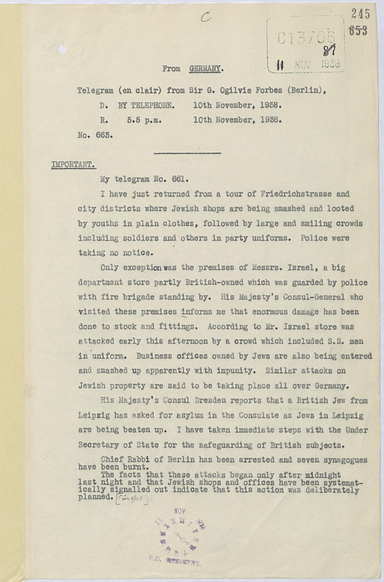 Telegram regarding Kristallnacht 10 November 1938