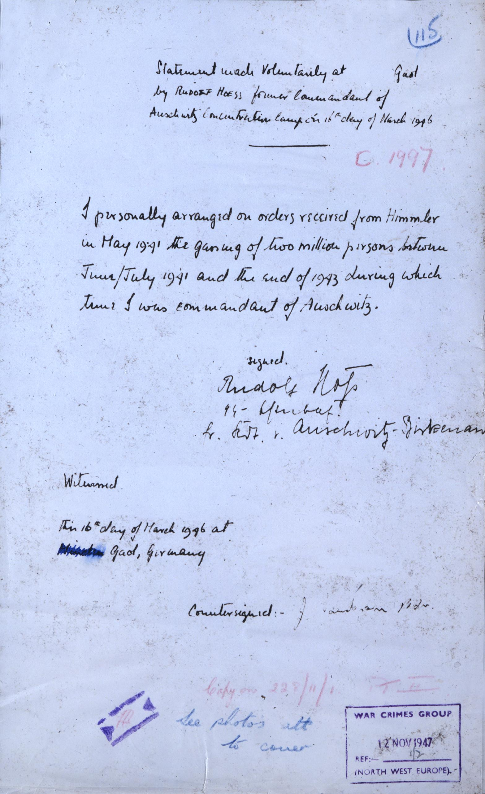 WO 309 217 Confession by Rudolf Hoess, Kommandant of Auschwitz