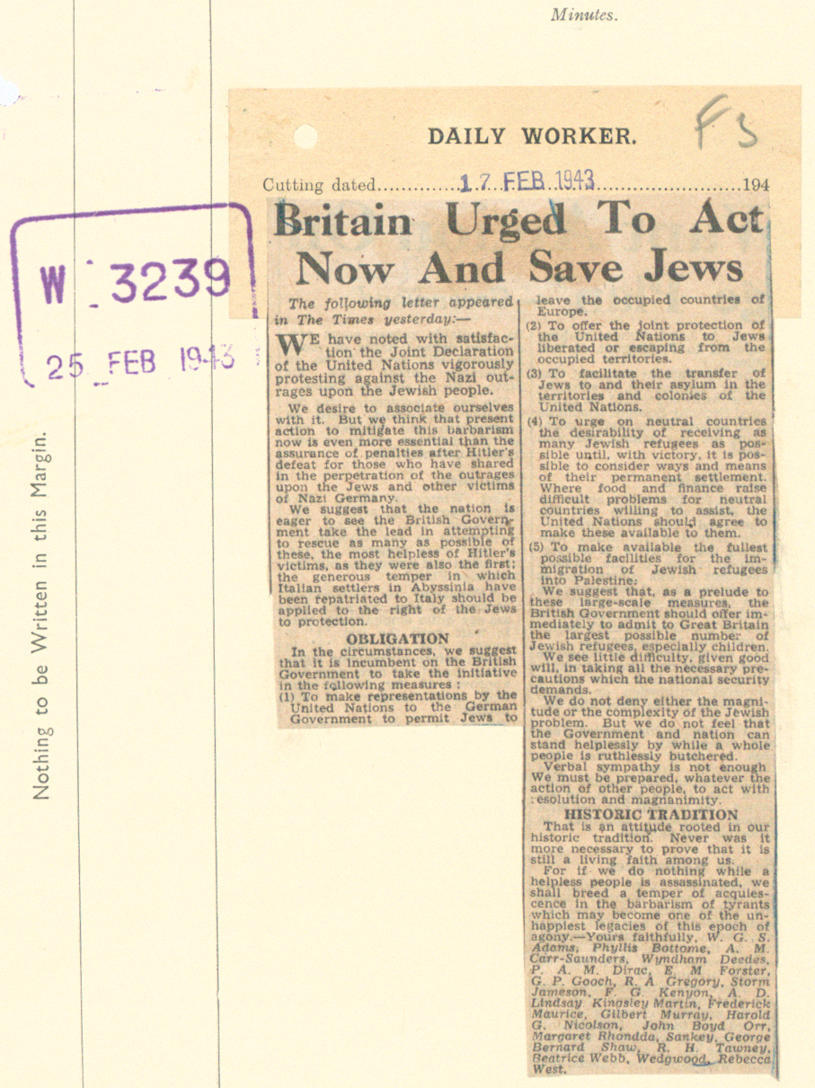 Cutting of an Open Letter against mistreatment of Jews from the Daily Worker newspaper