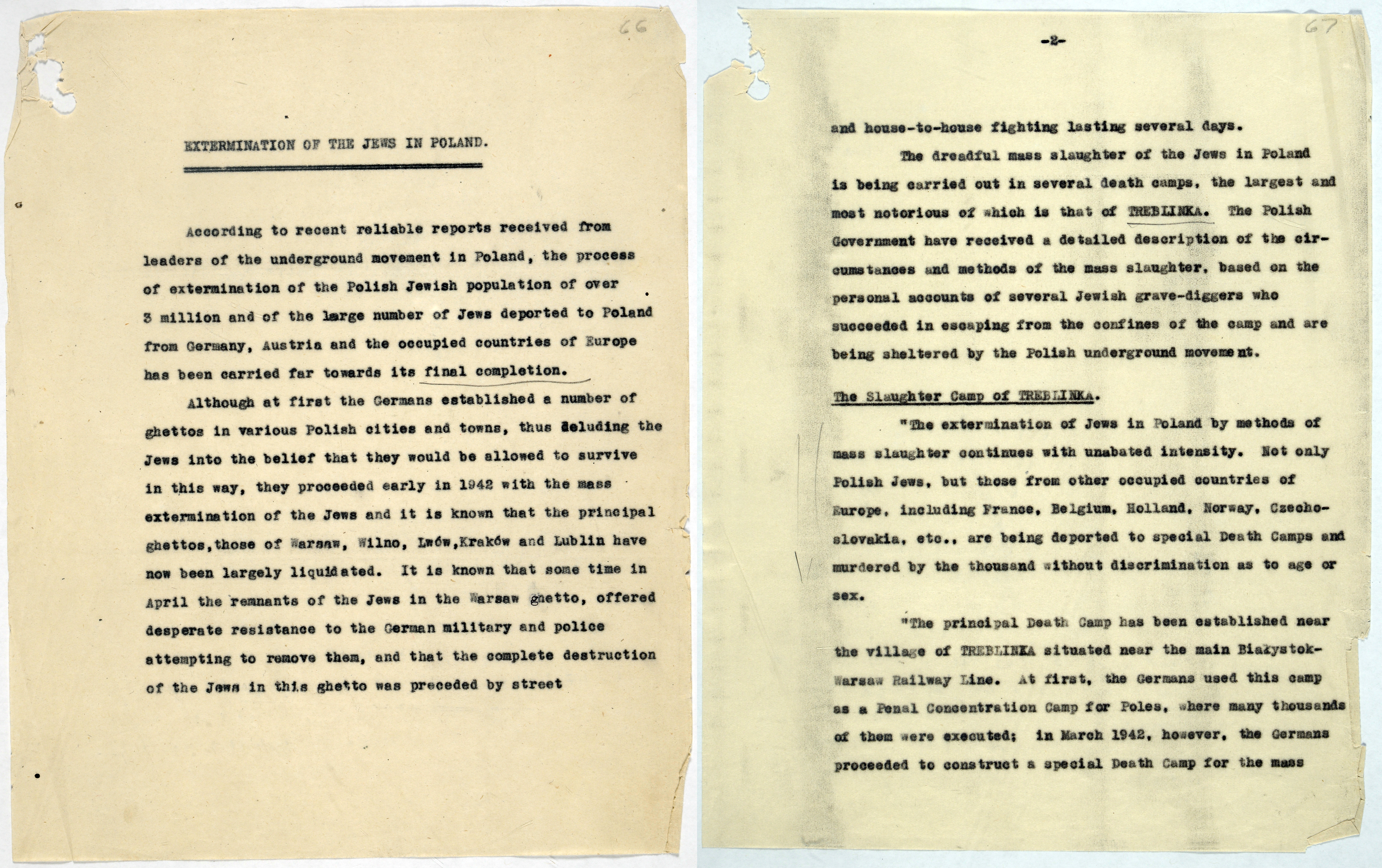 Report of the mass extermination of Jews in Treblinka