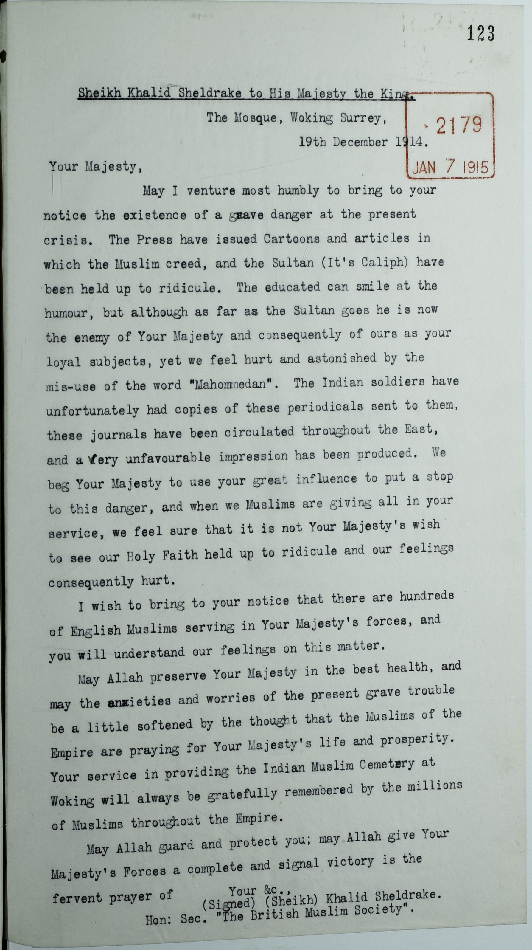 Letter from Khalid Sheldrake FO_371_2480