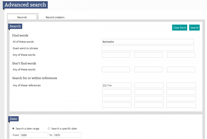 A screen shot of the advanced search page in our catalogue.