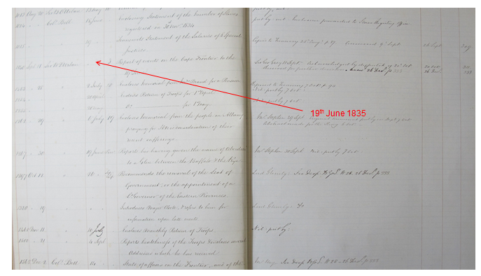 An image of a page from a Colonial Office register for 1834-1835. Document reference CO 326/205.