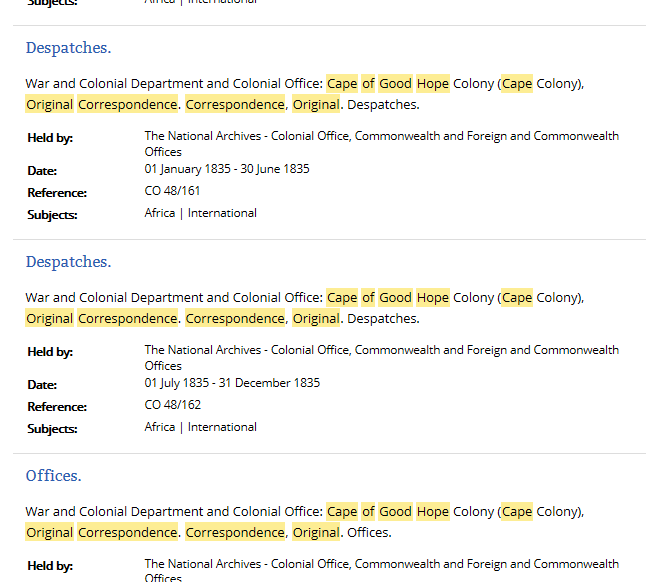 A screen shot of catalogue search results reordered into reference order.