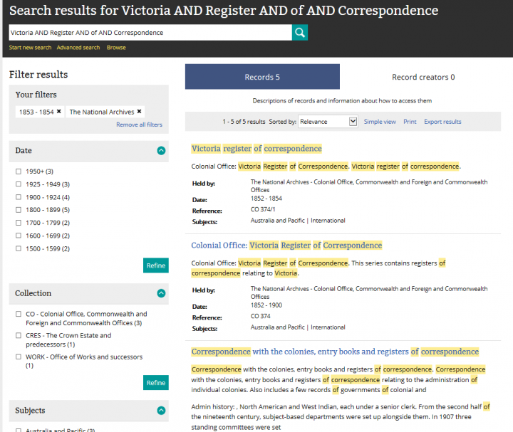 An image of a search results page in our catalogue showing the results of a search for Victoria registers of correspondence from 1853-1854.
