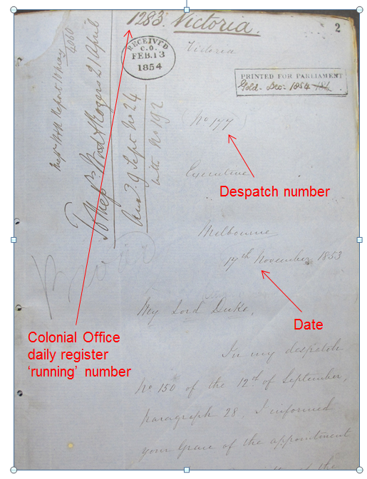 An image of the front page of the correspondence for Victoria covering 17th November to 31st December 1853. Document reference CO 309/19.