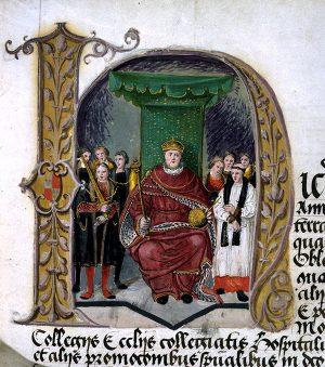 E 344/22 p21 Henry VIII illuminated initial detail