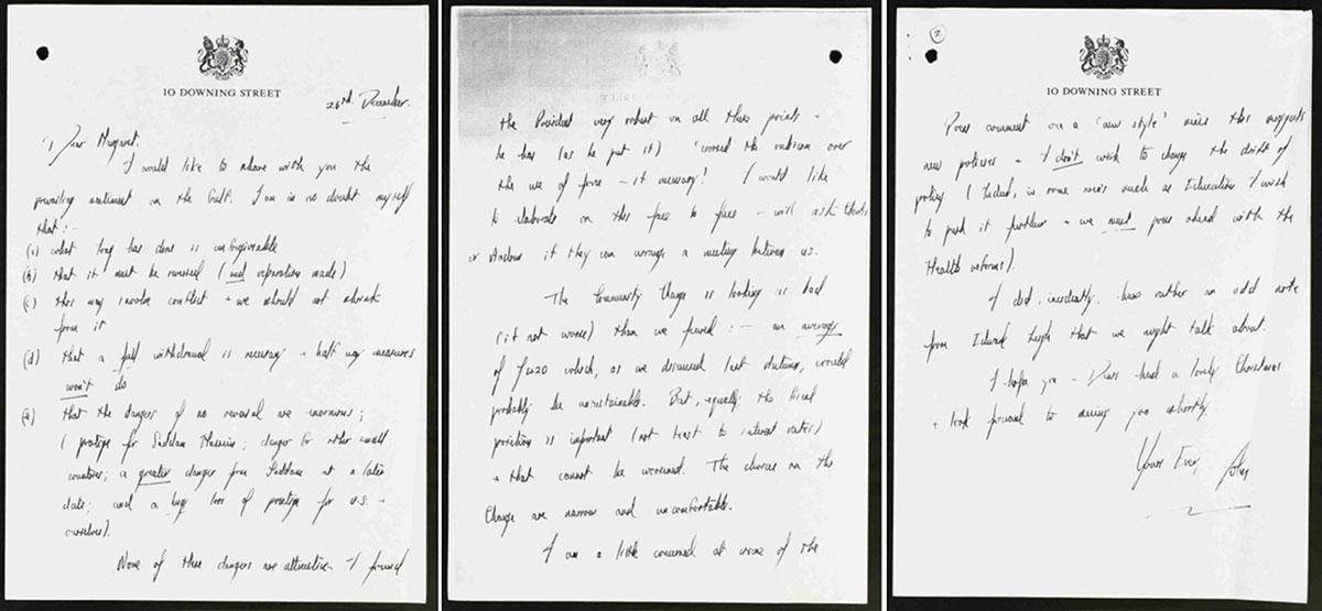 PREM 19/3890 A letter from Prime Minister John Major to his predecessor Margaret Thatcher