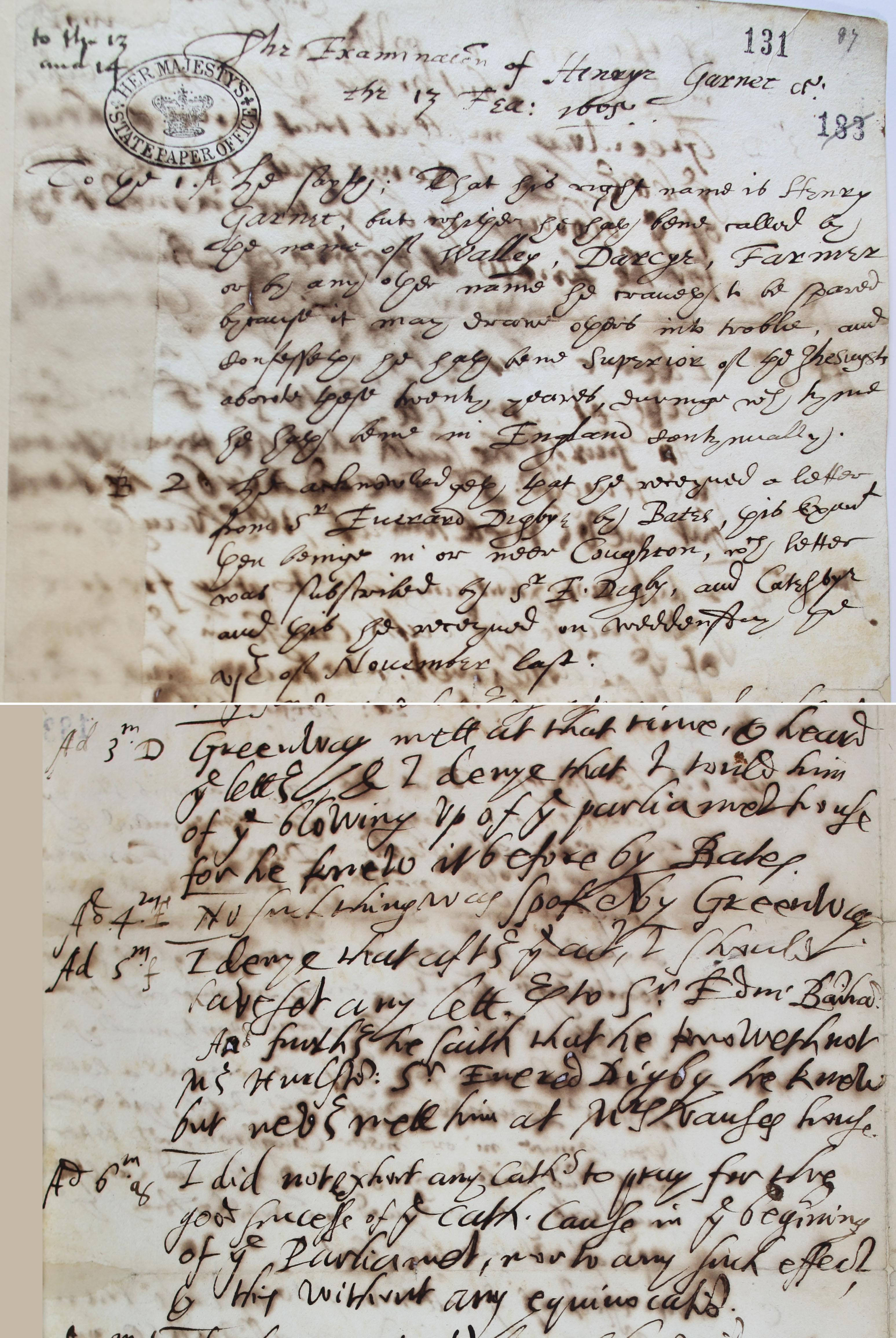 Examination of Henry Garnett SP 14/18 f.131