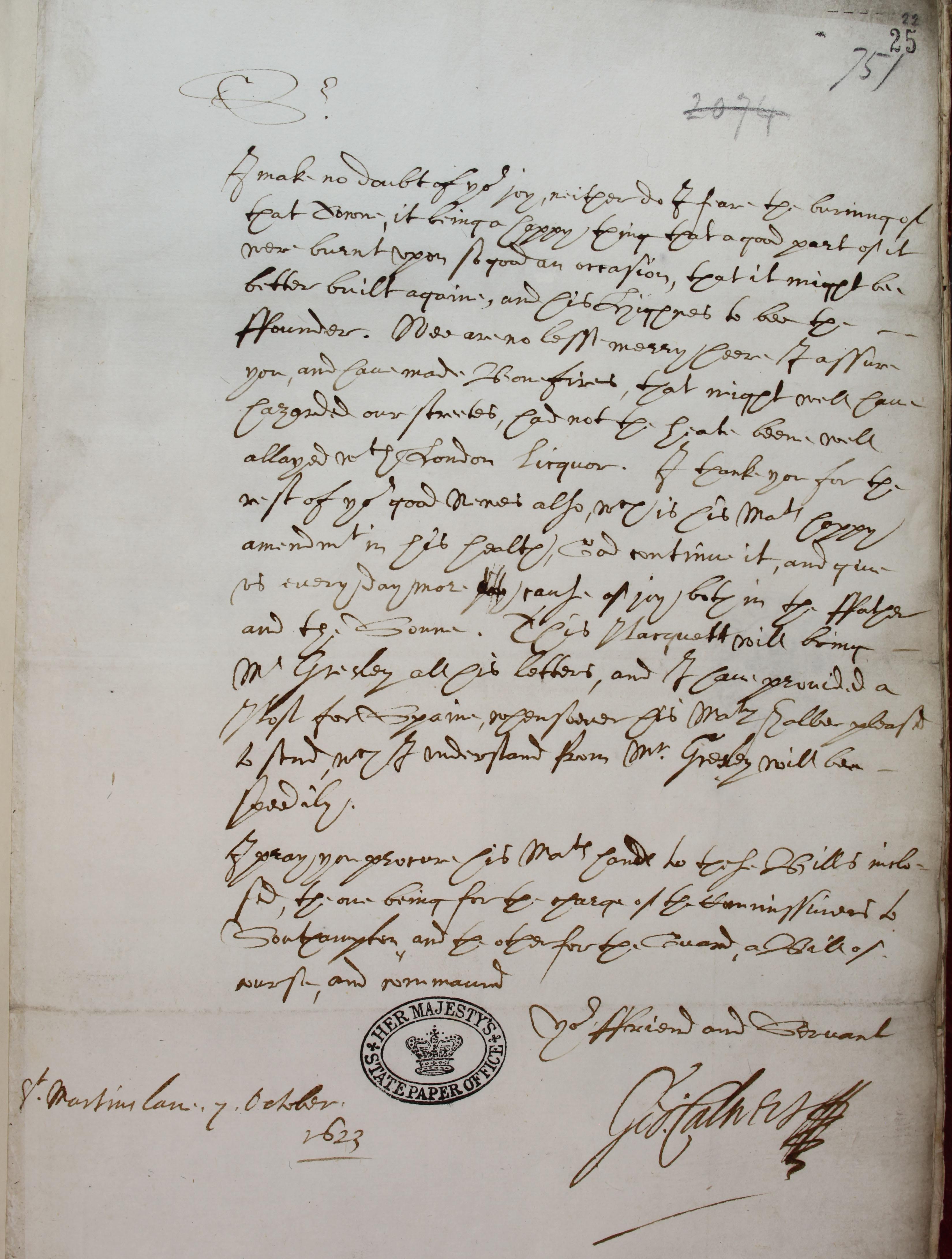 Prince Charles' return SP14/153 f.25
