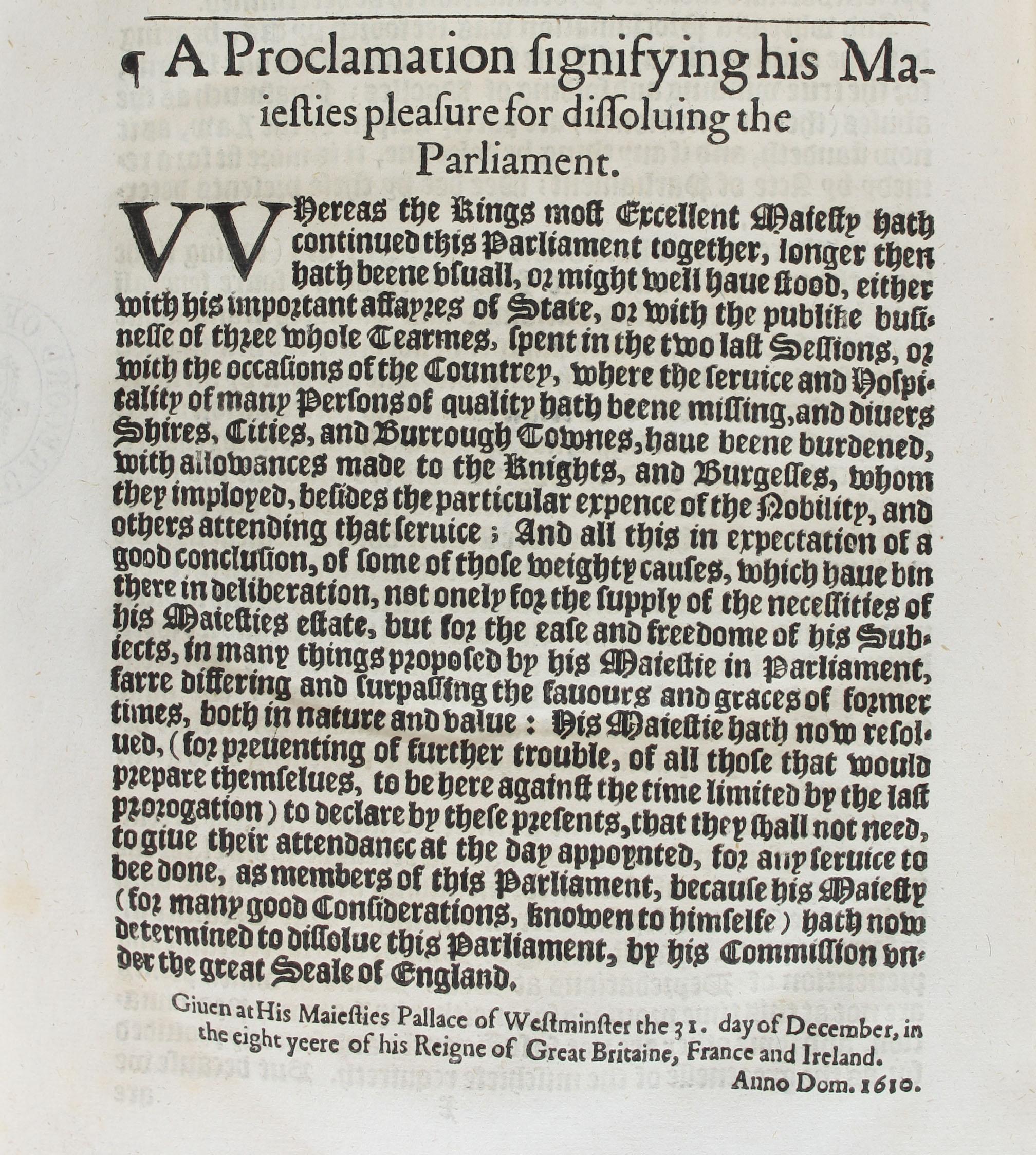 Proclamation 128 (dissolving Parliament 1610) SP 14/73/238