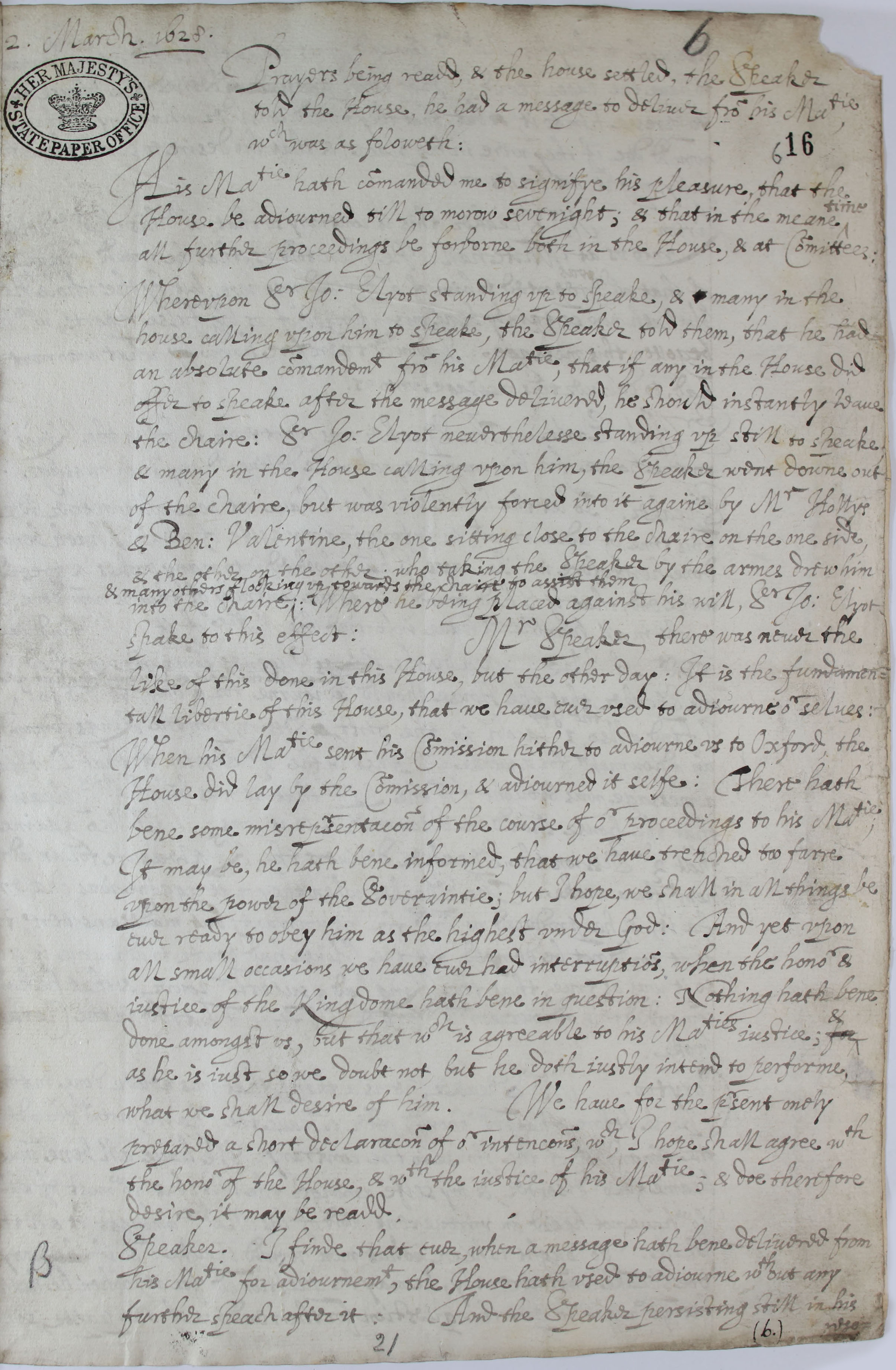 Reaction in the Commons SP16/138 f.16