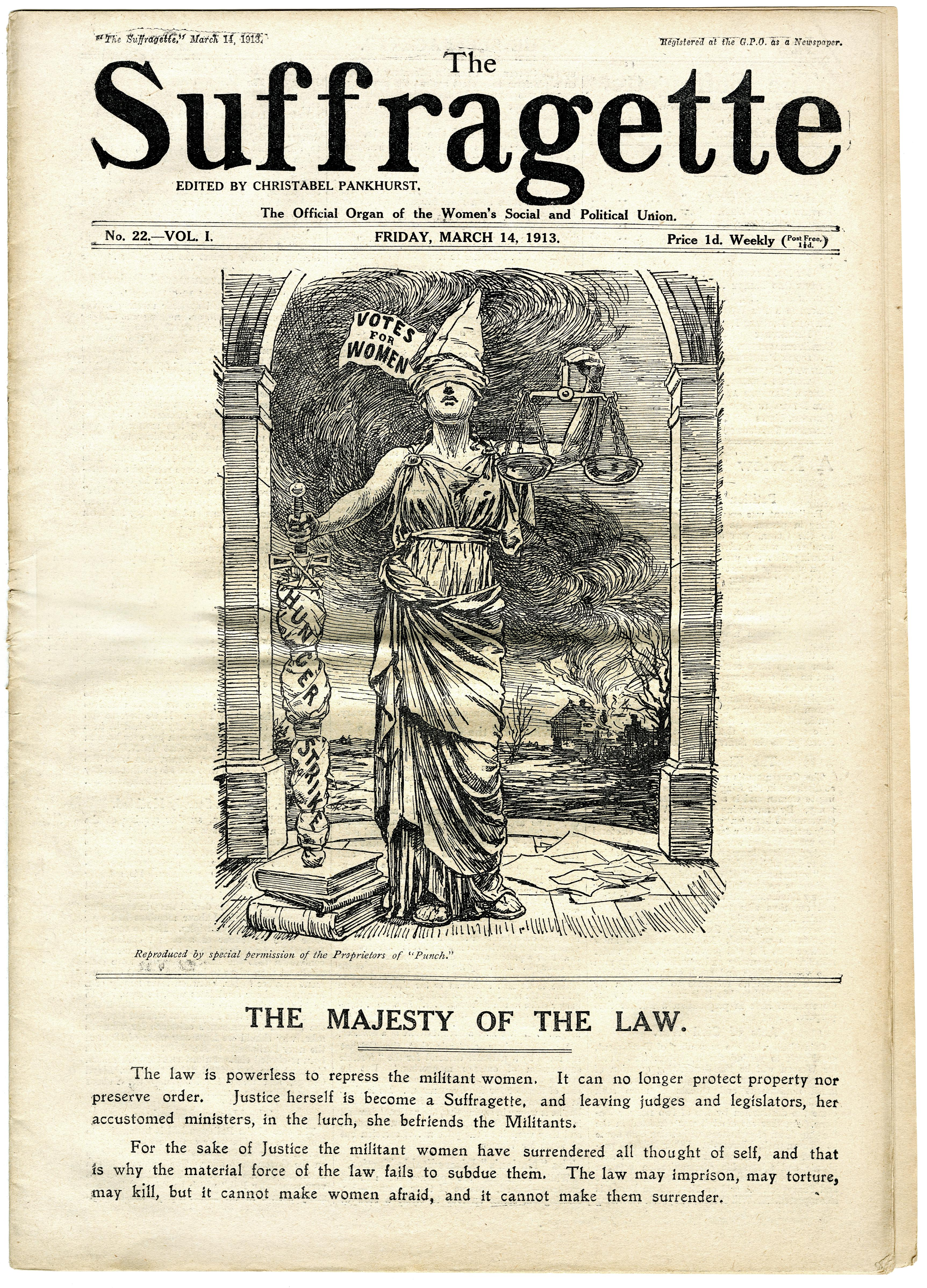 ASSI52-212 Cover of The Suffragette 14 March 1913