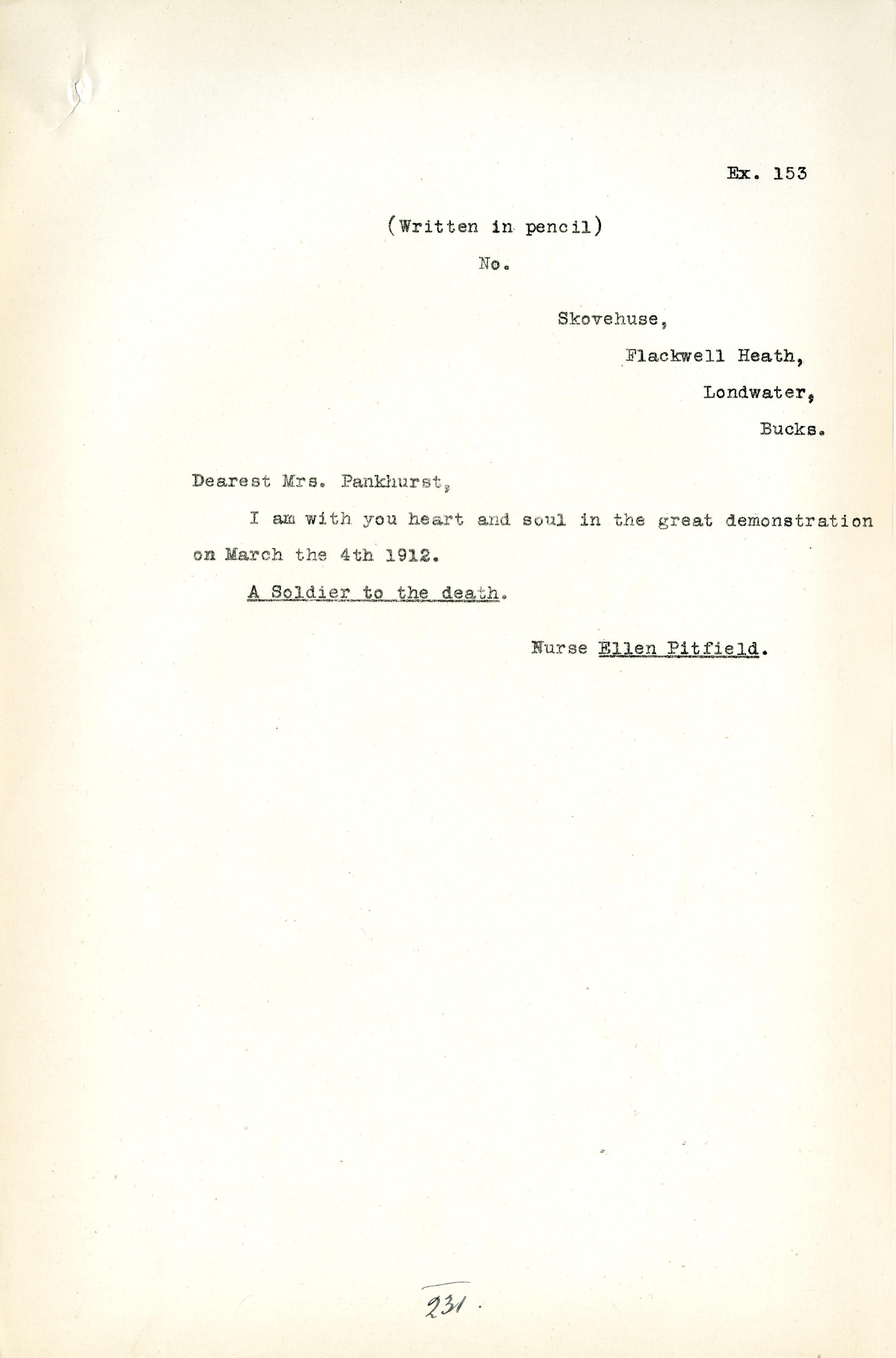 Copy of letter from Nurse Ellen Pitfield 1912 DPP1/23 Ex153