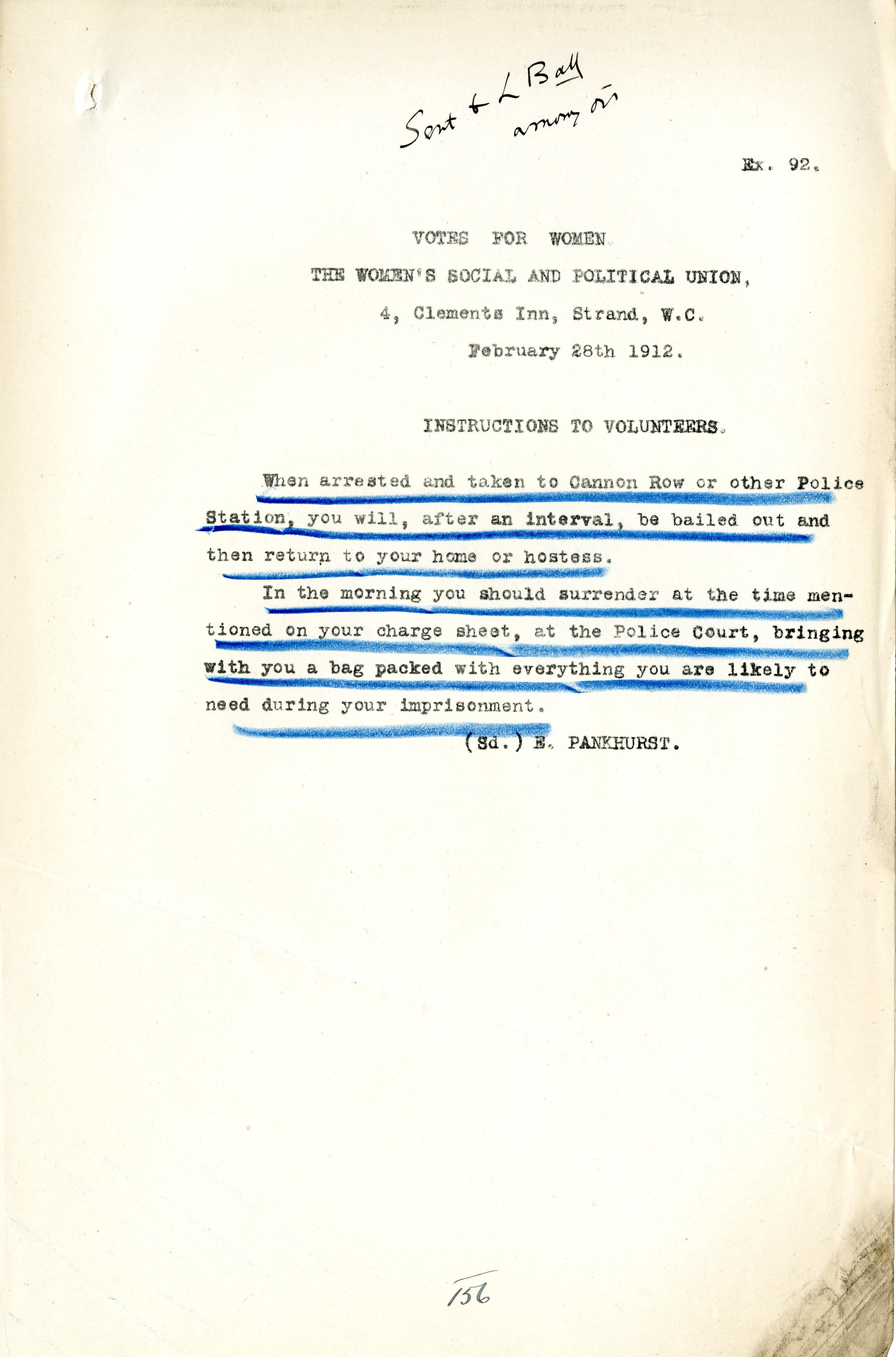 Instructions to volunteers 28 February 1912 DPP1-23 Ex92