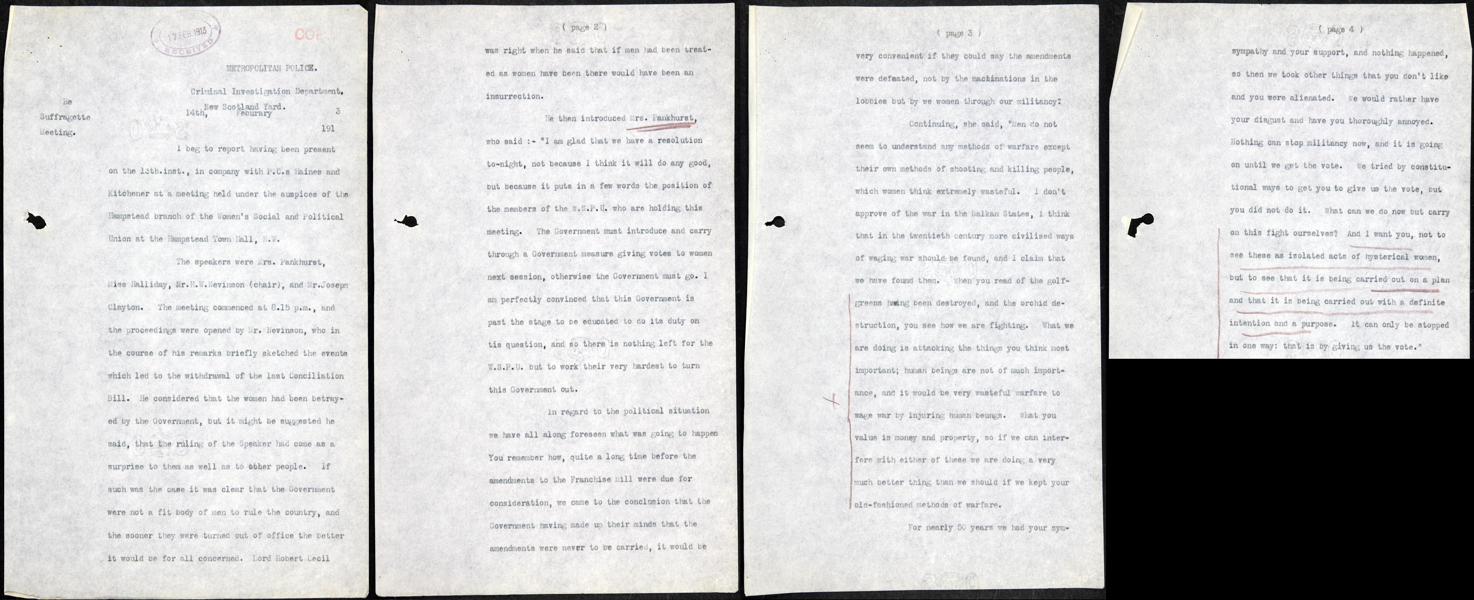 HO45/10695/231366 Speech of Mrs Pankhurst