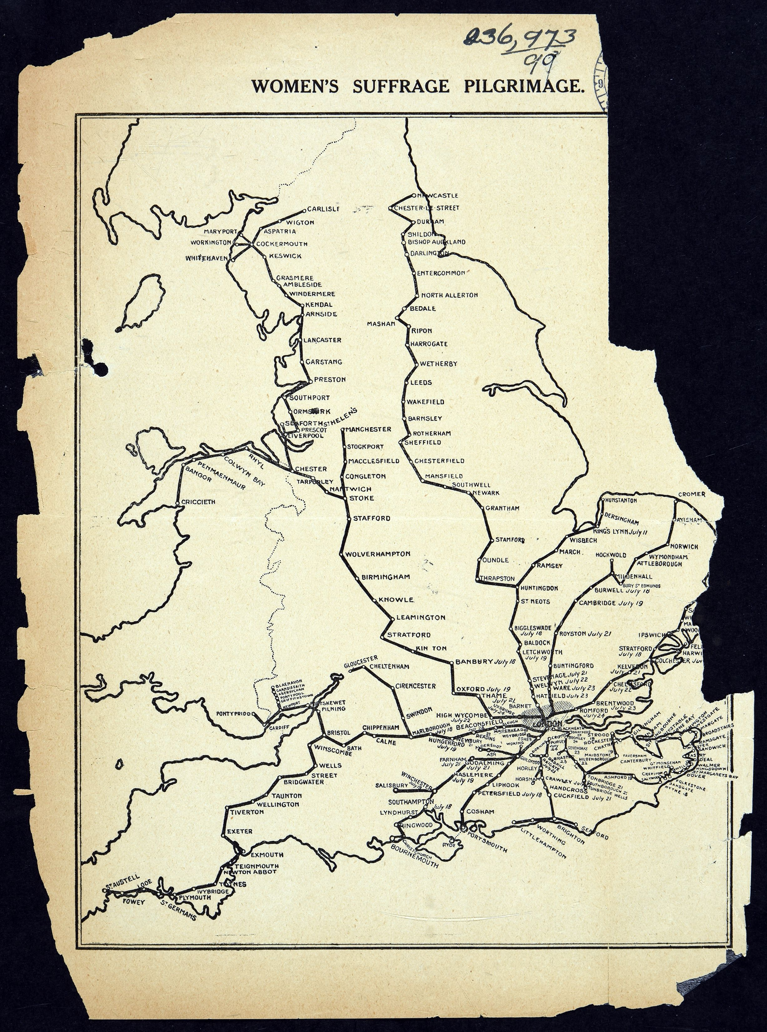 HO45/10701/236973 Womens Suffrage Pilgrimage Map