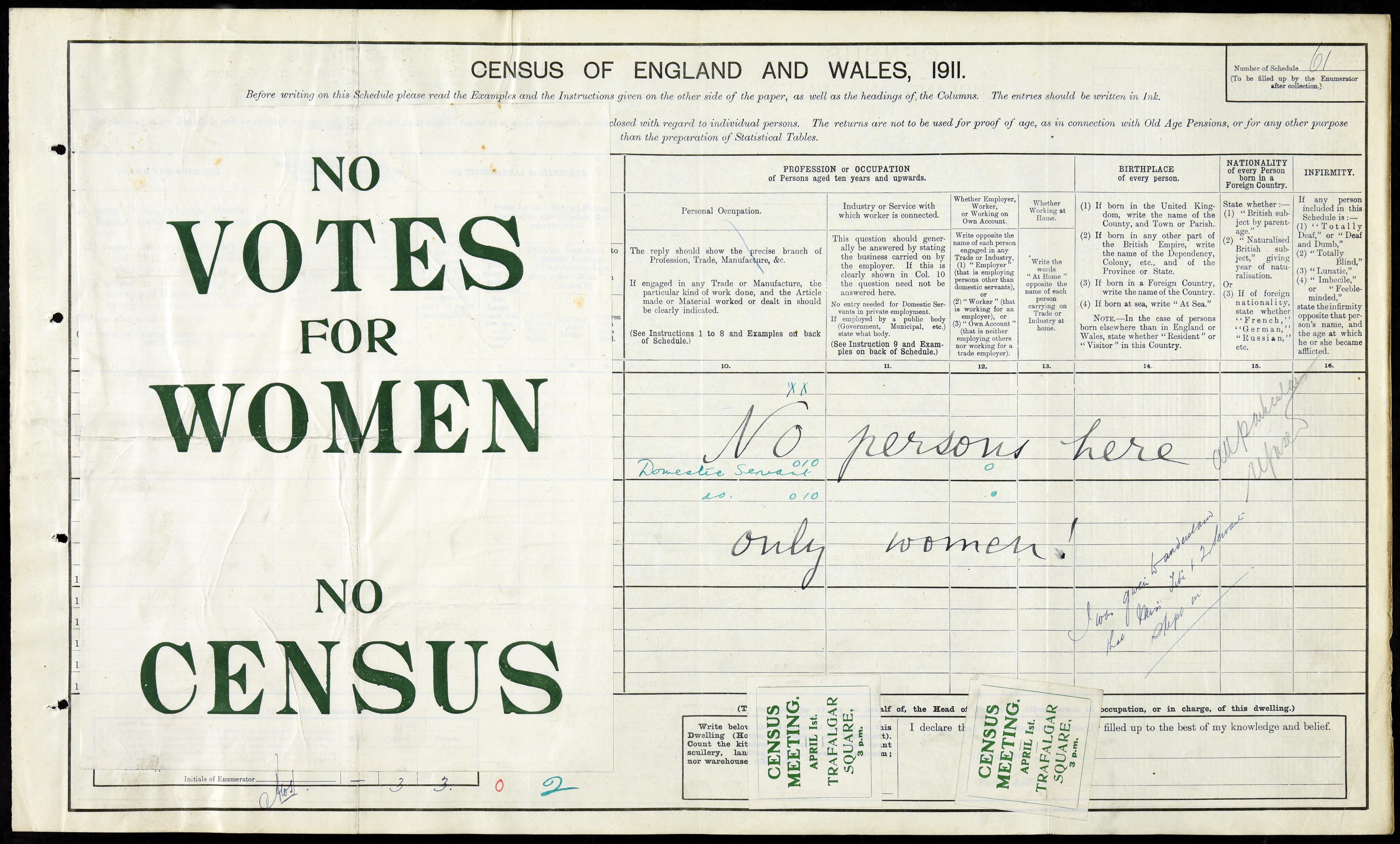 Suffragette protest in the South Kensington Census, London 1911 RG14/118