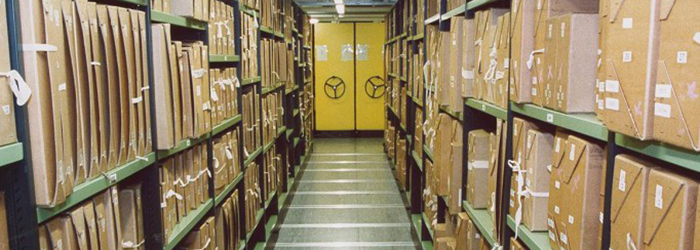 Archive boxes on repository shelves