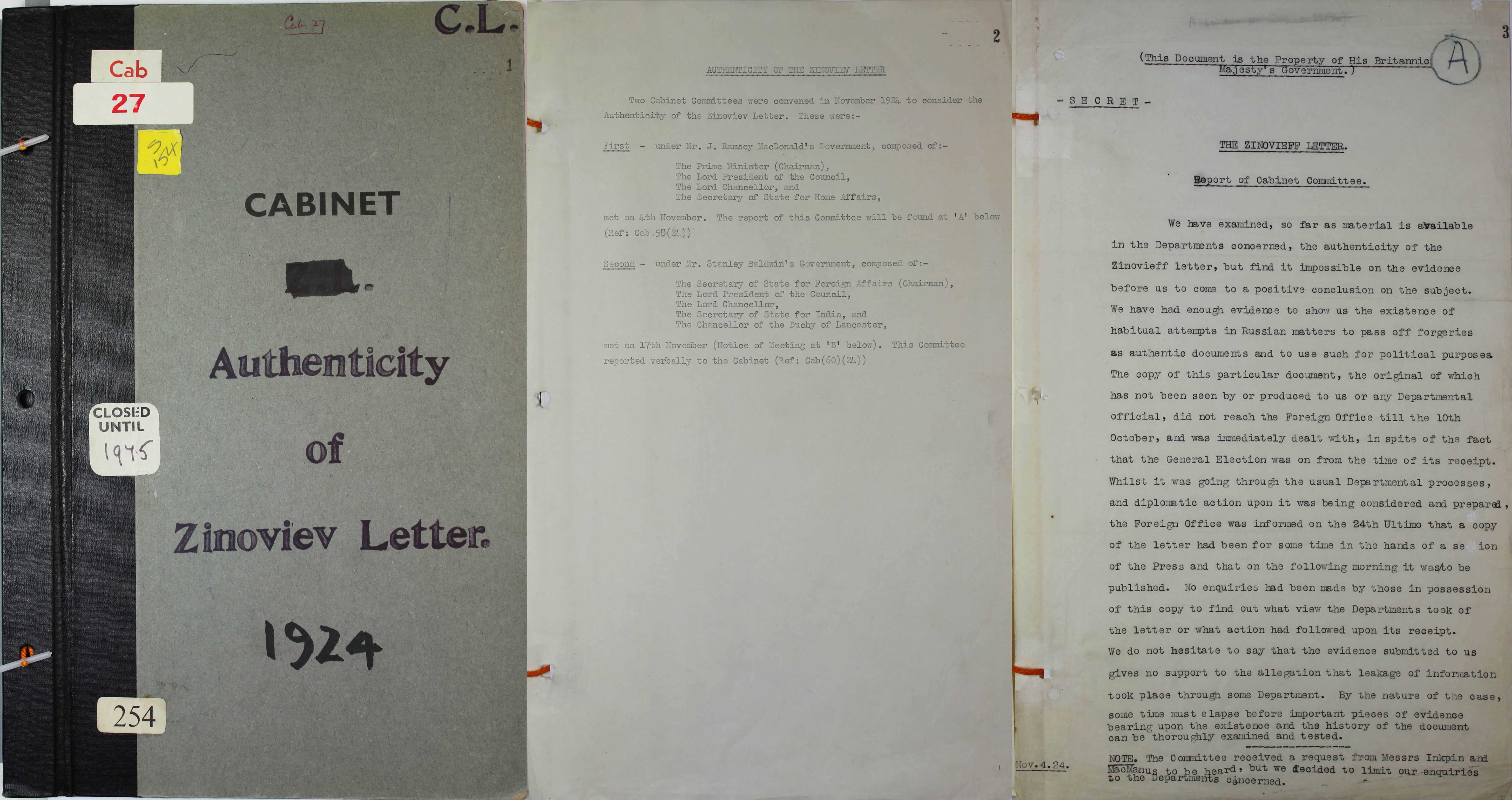Zinoviev Letter CAB27/254