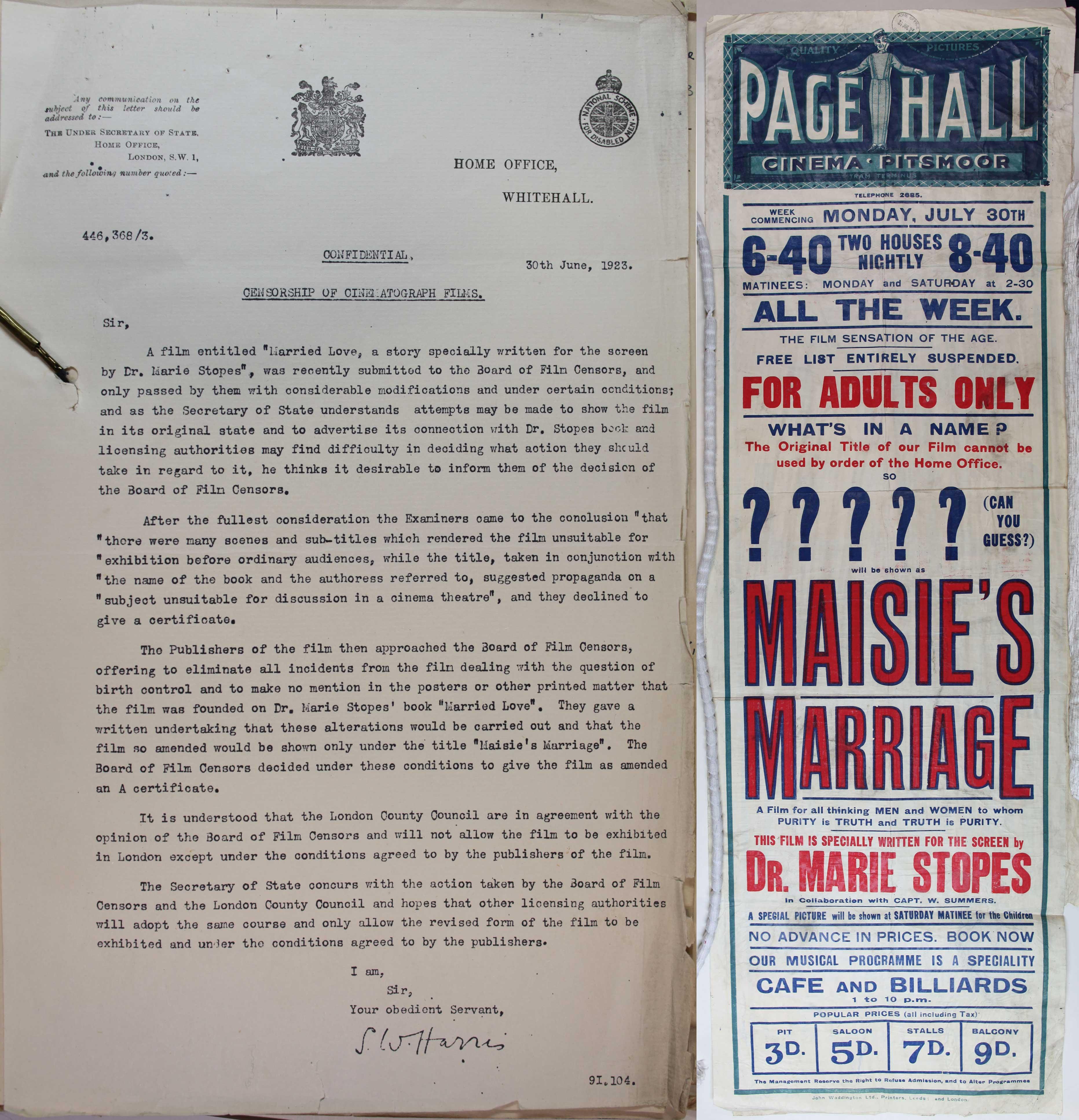 Censorship of Married Love HO45/11382