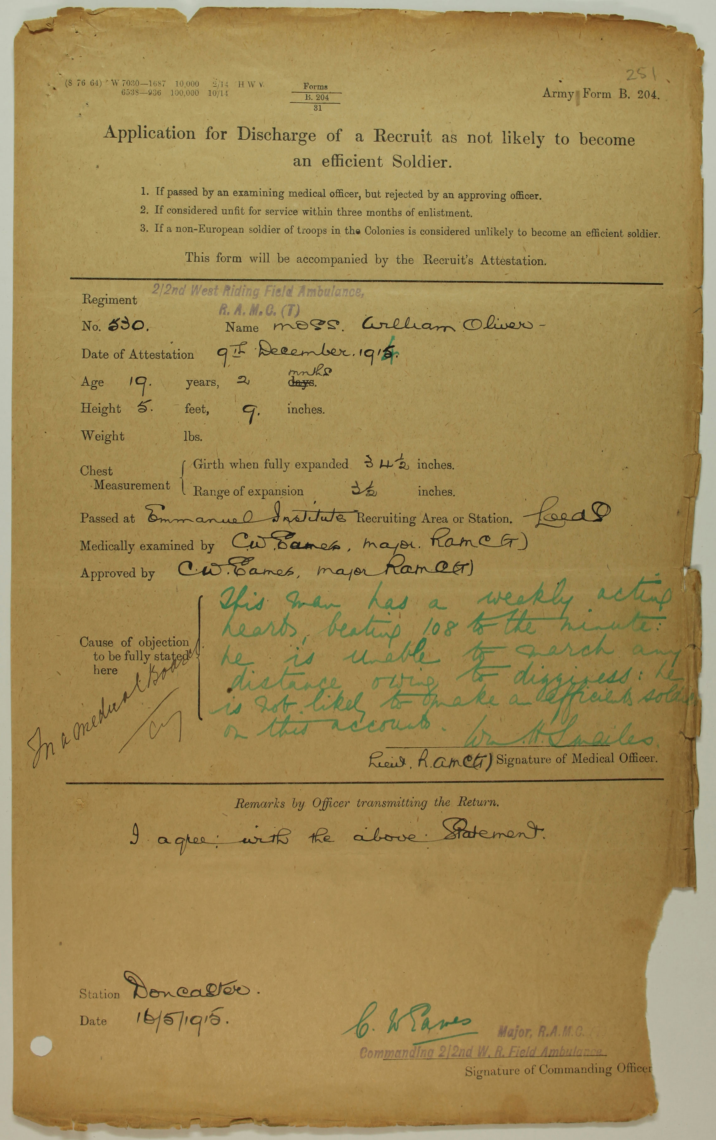 MH106/2101 Discharge of recruit form