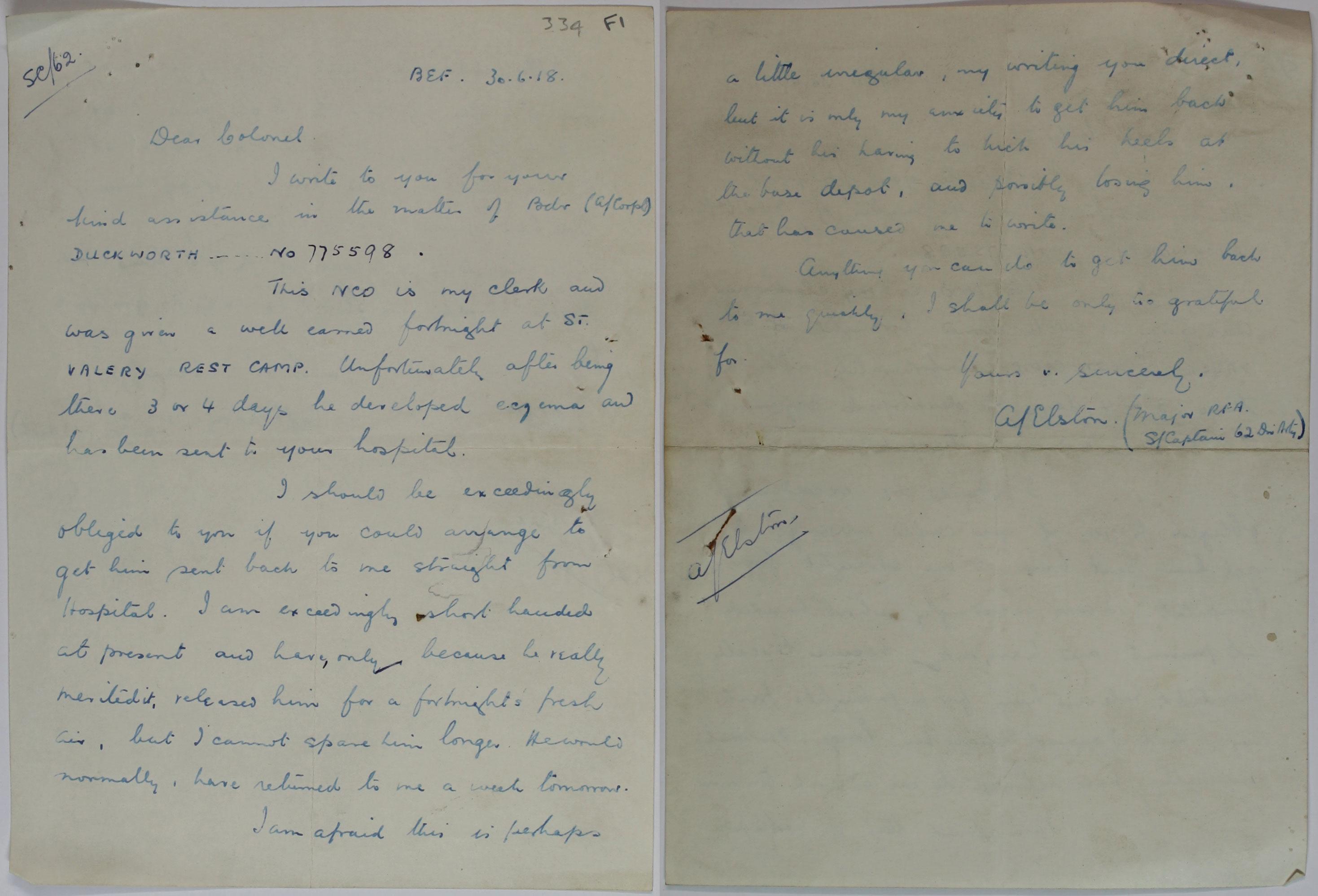 MH106/2154 An Officer's letter