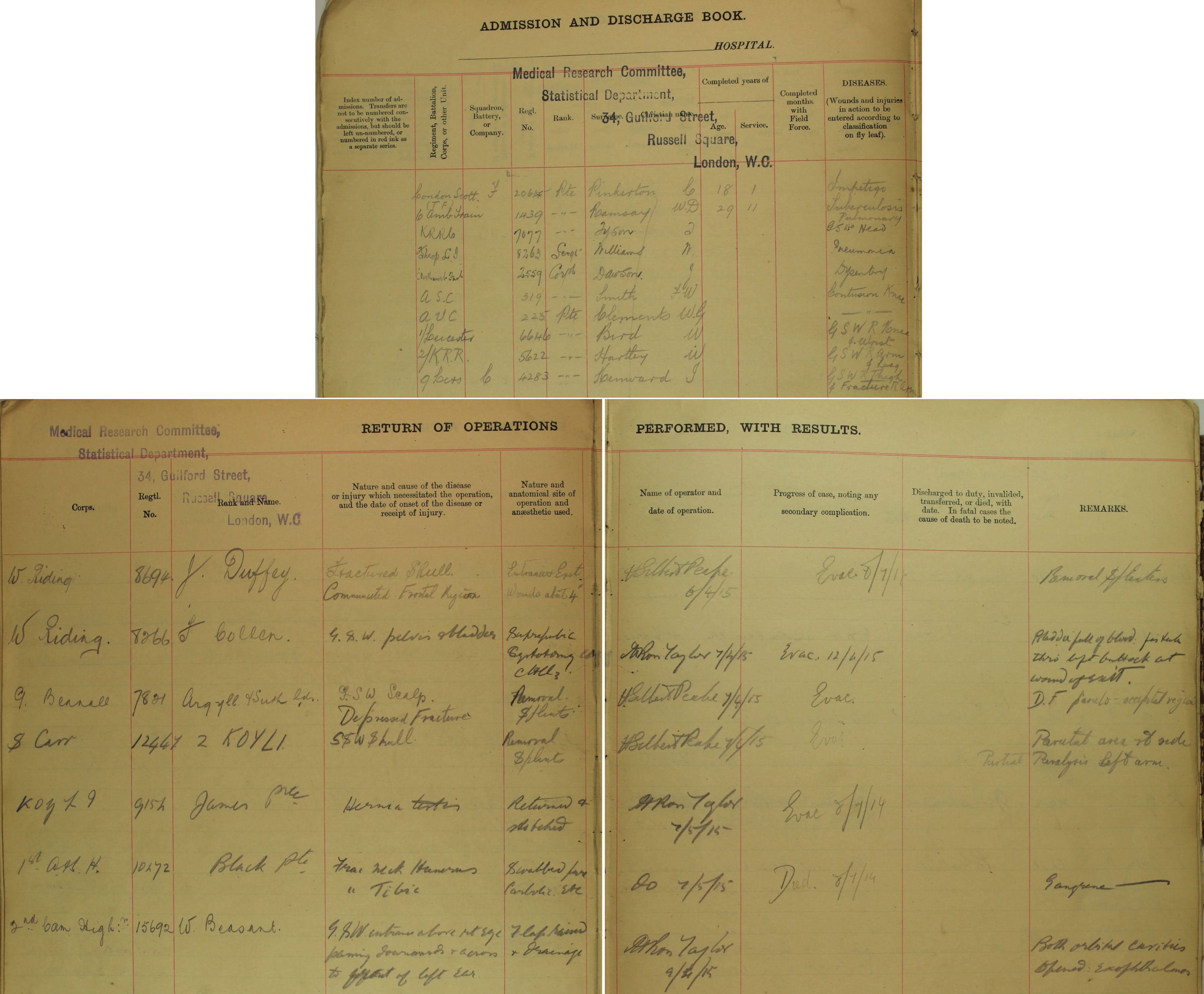 MH106/279 Extracts from admission and discharge lists
