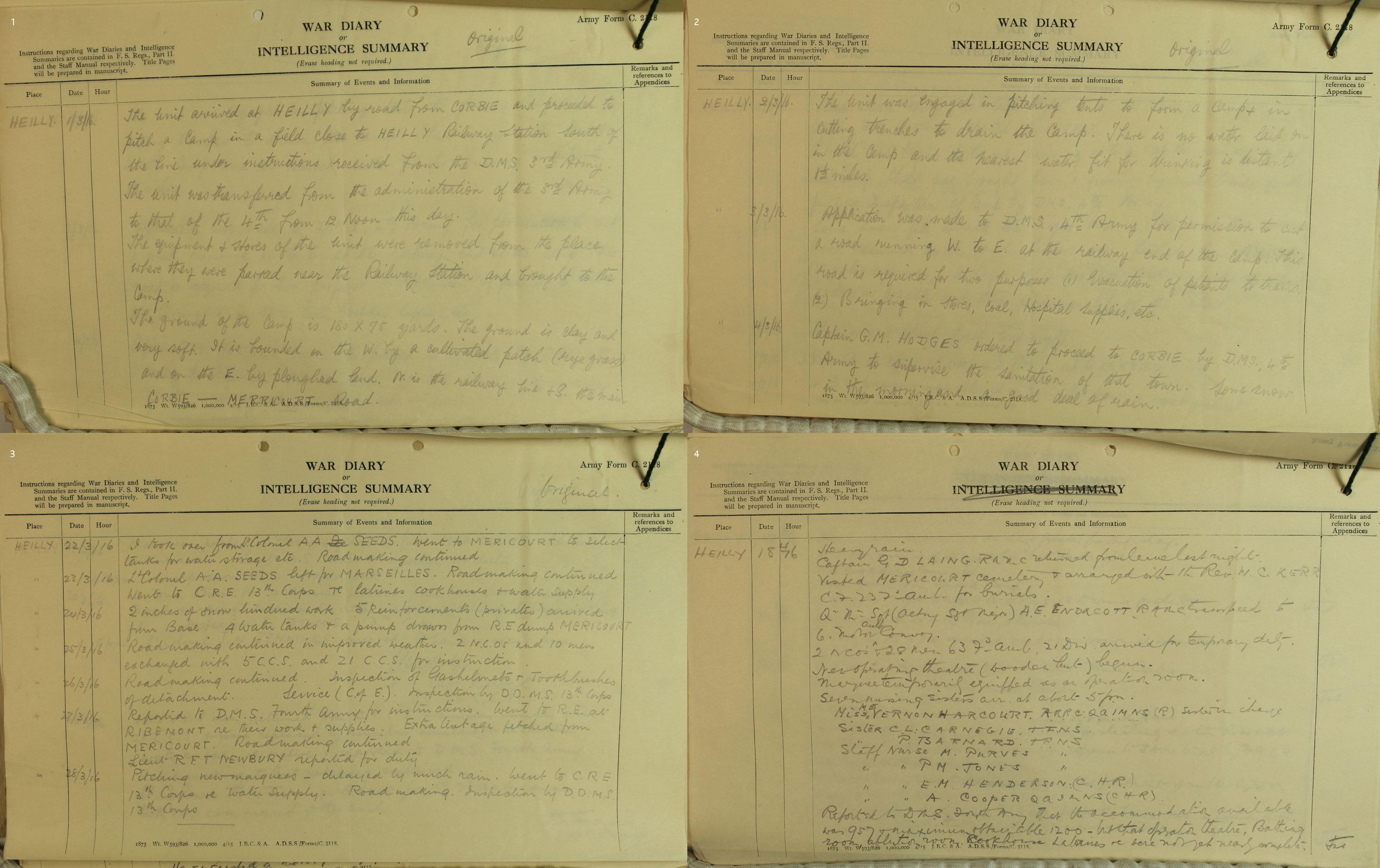 WO95/344 War diary describing the construction of the camp