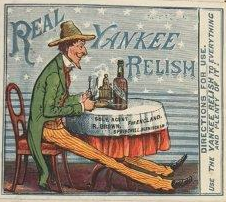 This trade mark for Real Yankee Relish, showing a man in American dress sat at a table, was registered at the Patent Office in 1884 (catalogue reference BT 82/143, design number 35648).