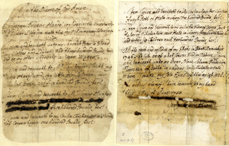 PROB1/14 June 1750 Handels will