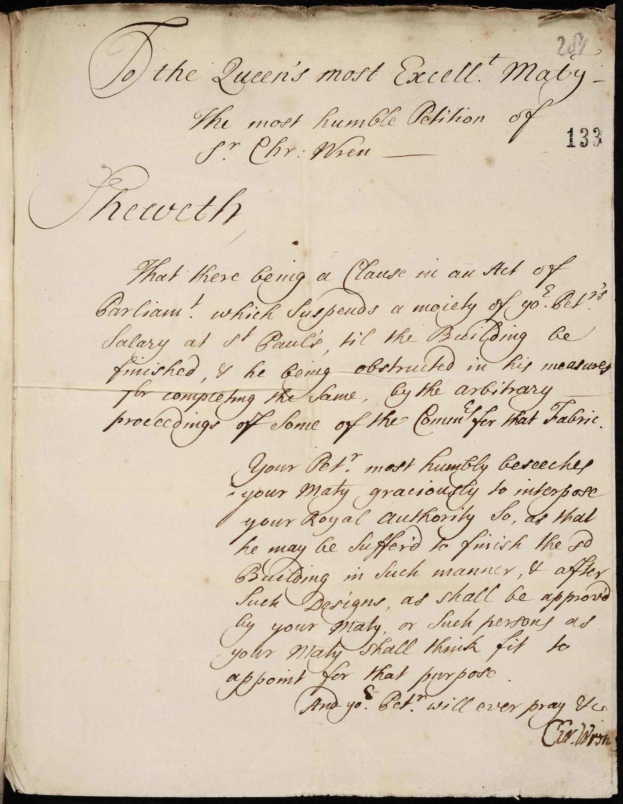 SP34/29/133 1711 Sir Christopher Wren Petition