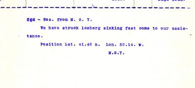 Image of Titanic telegram 1912