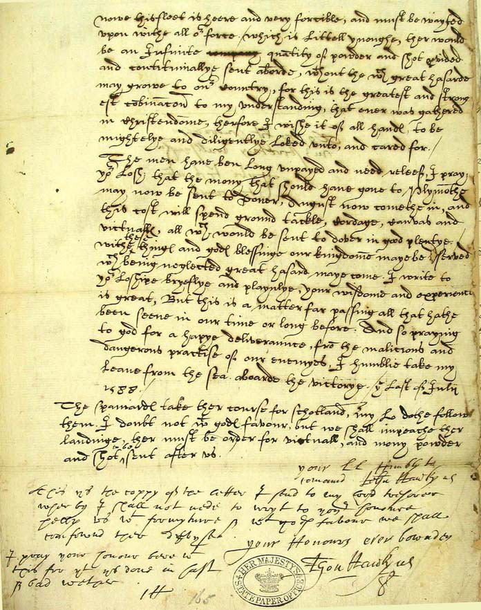 SP12/213 Extract from a letter to Sir Francis Walsingham