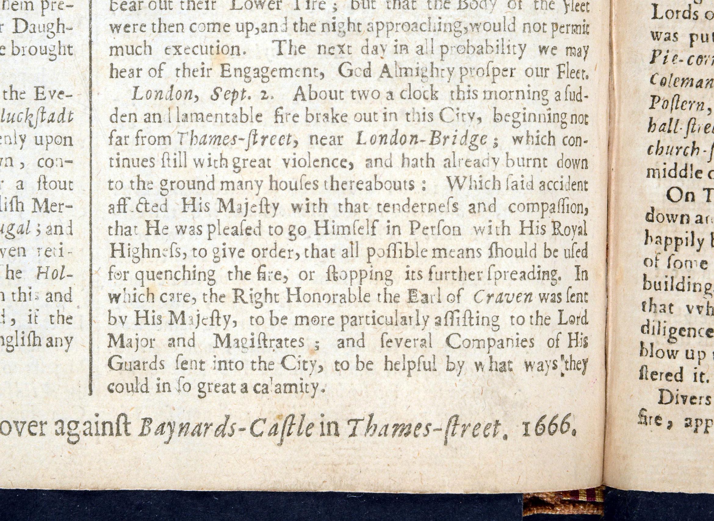 ZJ1/1/84v Great Fire Sept 1666