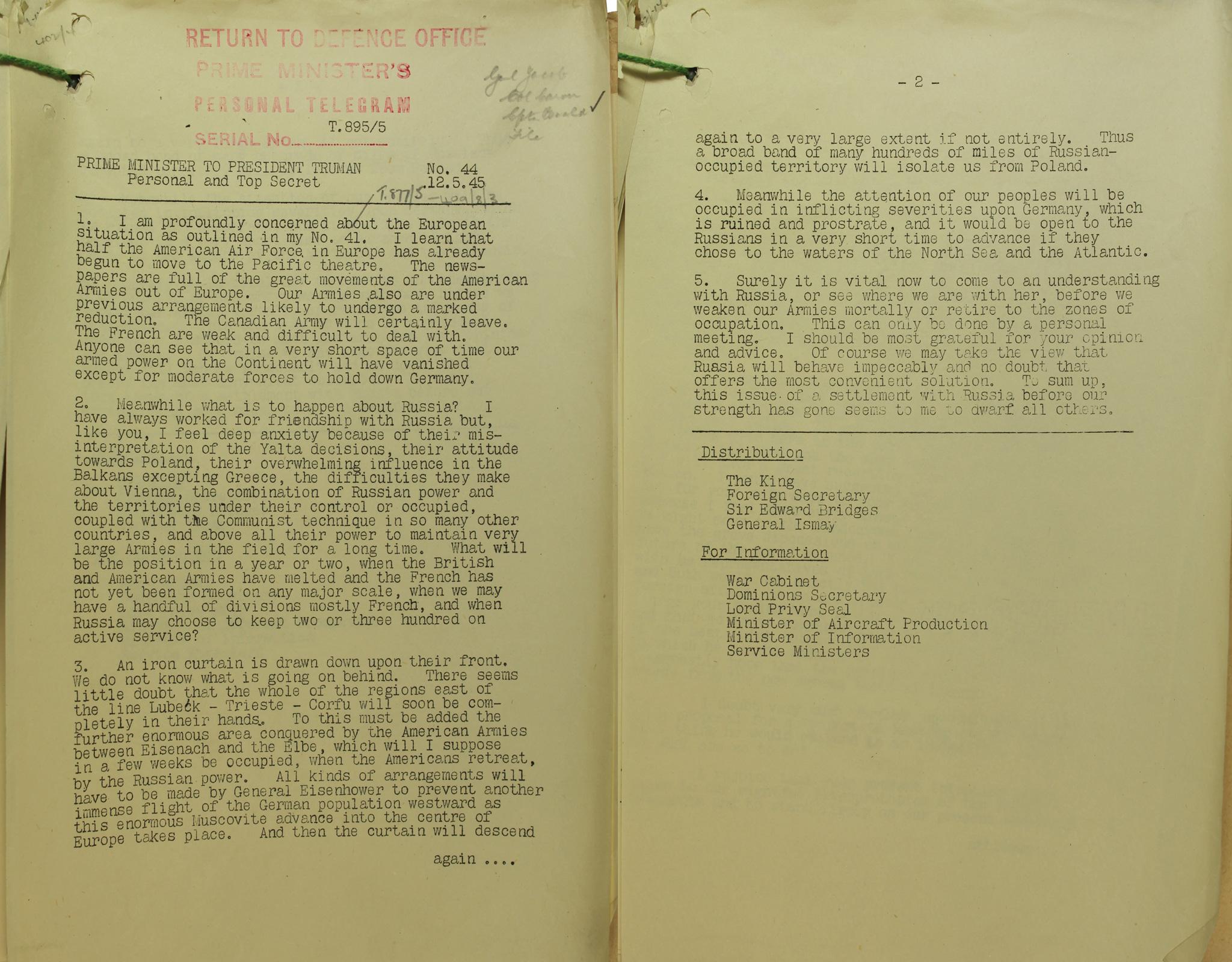 CAB120/186 Churchill post Yalta