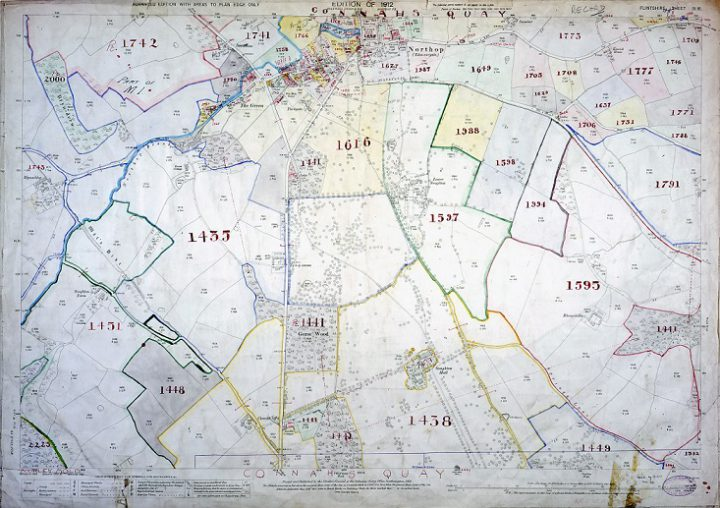 A colour plan for the town of Connah's Quay and the surrounding land, with plots of land numbered in red handwriting, in the valuation district of Wrexham, in the county of Flintshire (catalogue reference IR 131/10/85).