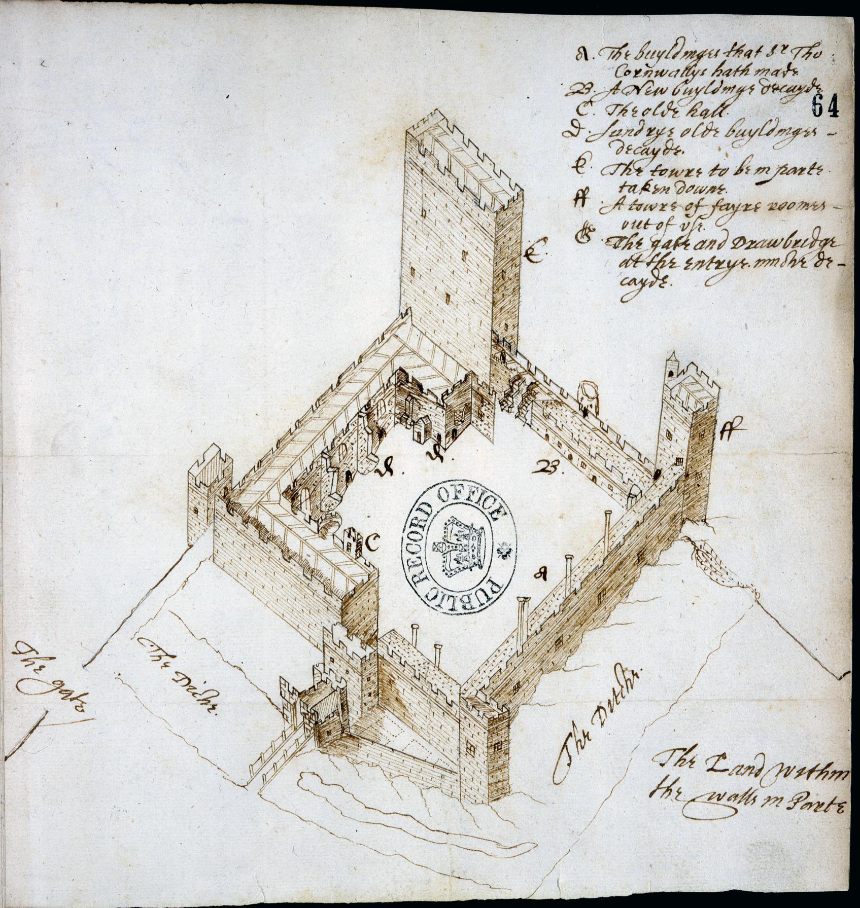 SP14/48 (46) Bird's eye view of Portchester Castle, by John Norden, 1609