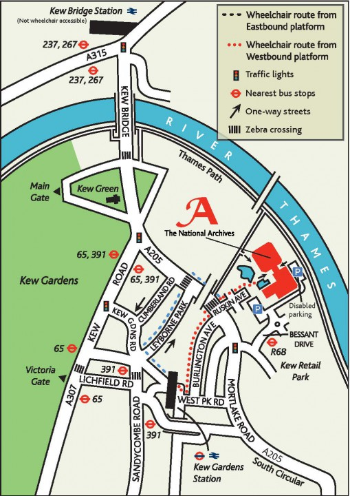 A map of the our local area, with disabled access routes highlighted.