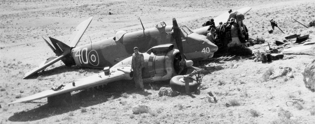 A crashed Beaufighter at Nicosia, October 1944. This photograph is from the Operations Record Book of the RAF station at Nicosia (catalogue reference AIR 28/588).
