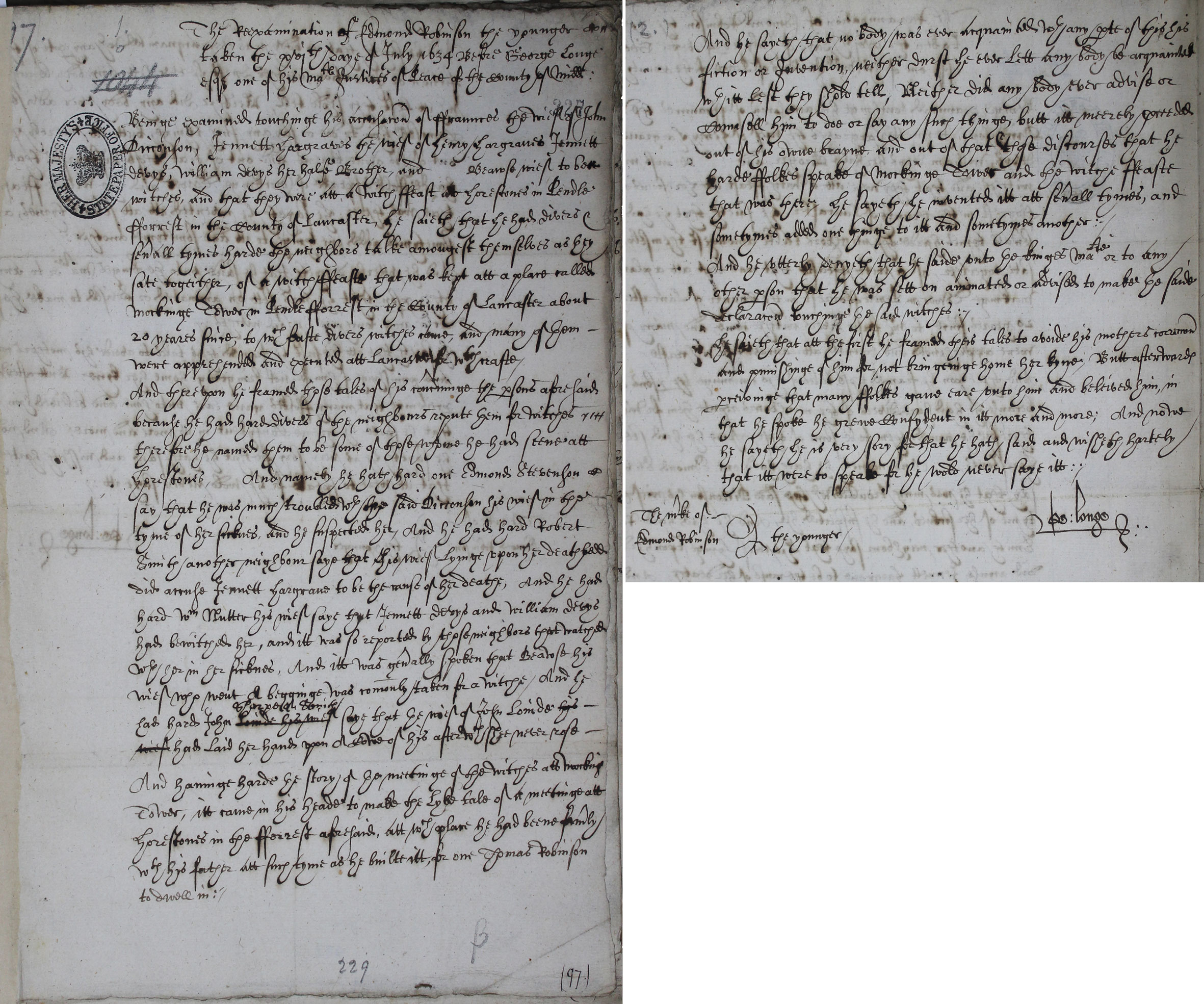 The Lancaster Witches: re-examination of Edmund Robinson the younger SP 16/271 f.227