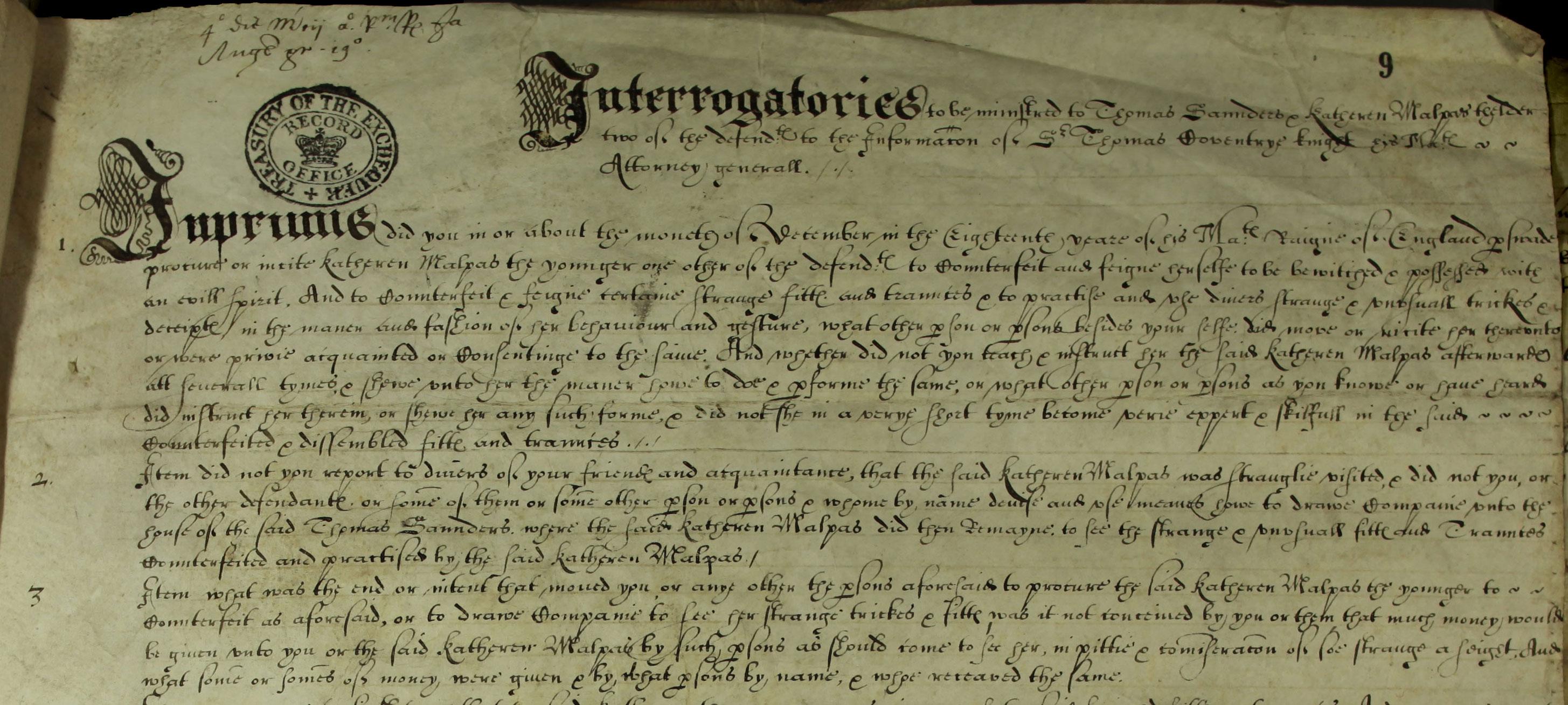 Katherine Malpas: Interrogatories put to Thomas Saunders & Katherine Malpers the elder STAC 8/32/13
