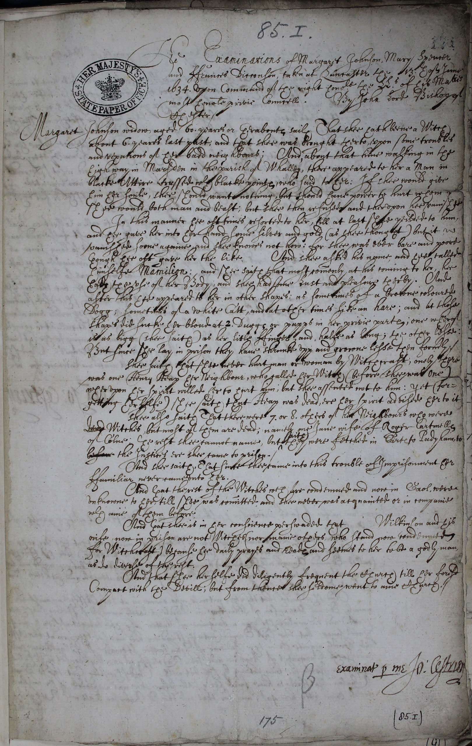 The Lancaster Witches: examinations of Margaret Johnson, Mary Spencer, and Frances Dickenson SP16/269/174