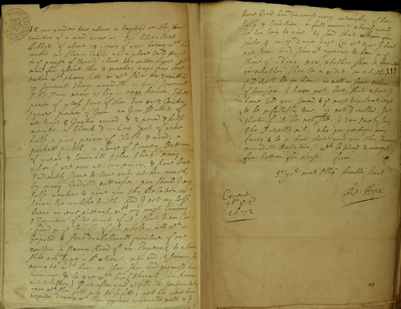 Elizabeth Tibbots, accused of witchcraft, SP 29/317 f.116