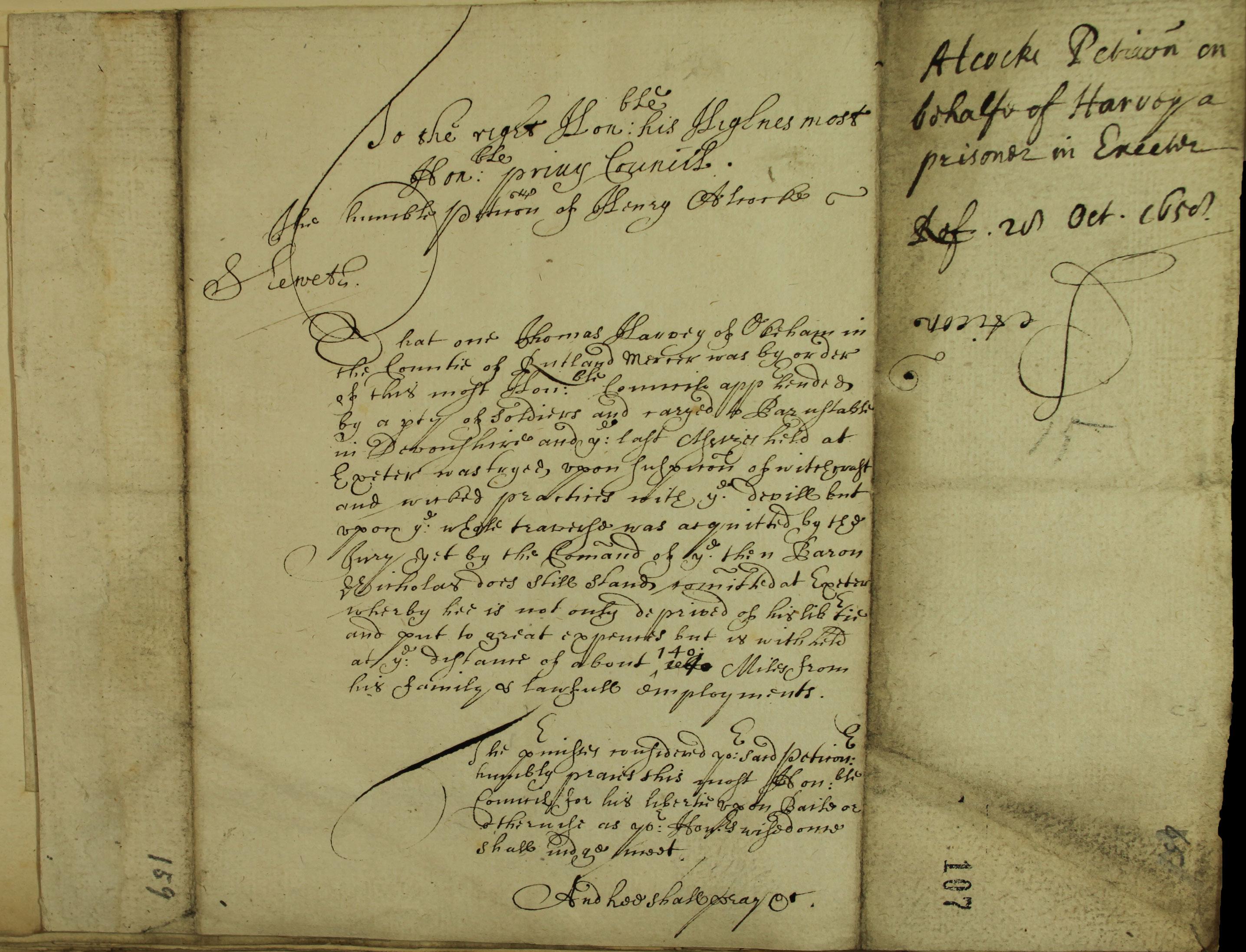 Thomas Harvey, Male witch, SP 18/183 f. 107