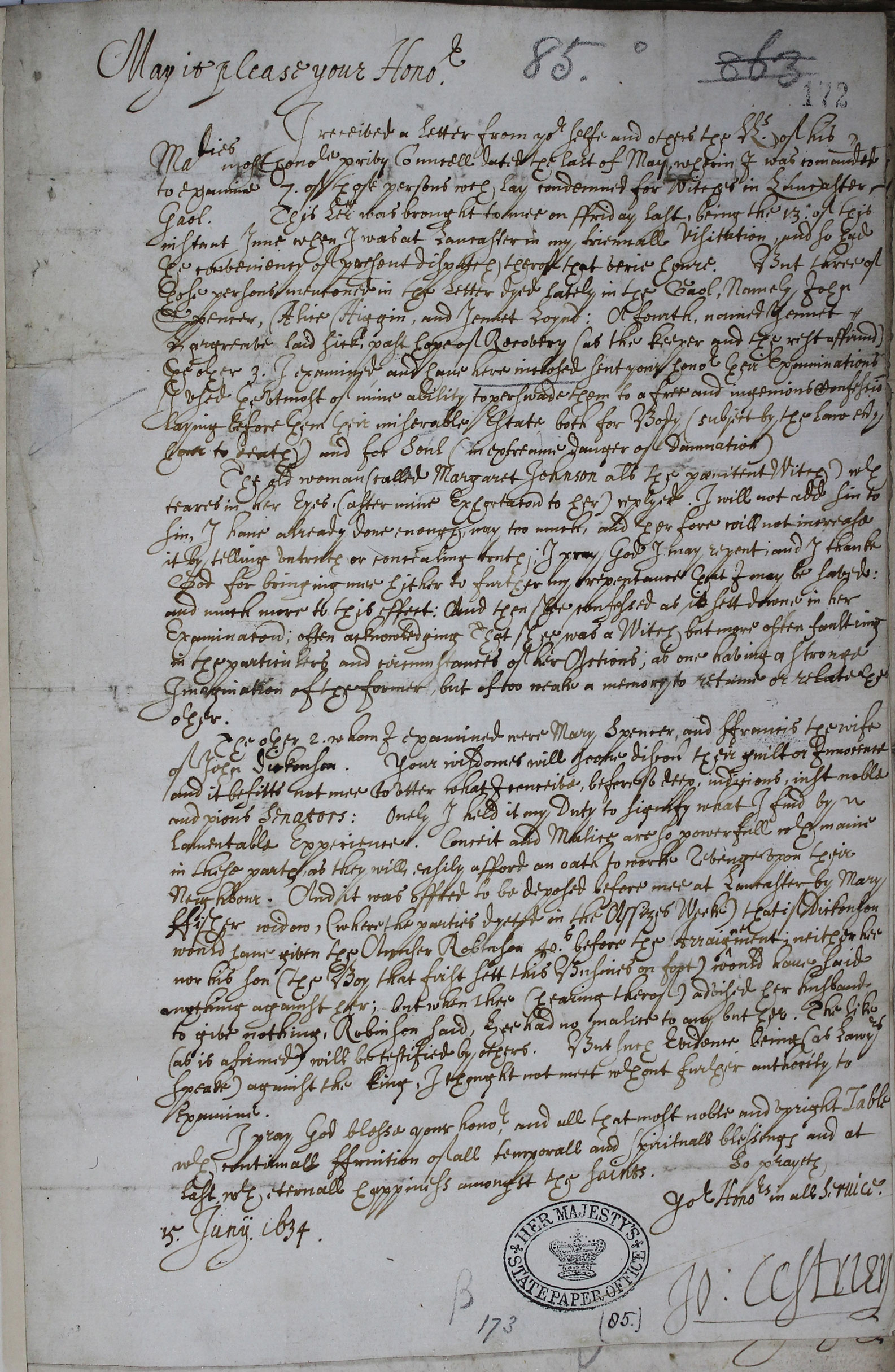 The Lancaster Witches: letter of Bishop of Chester SP 16/269 f. 172